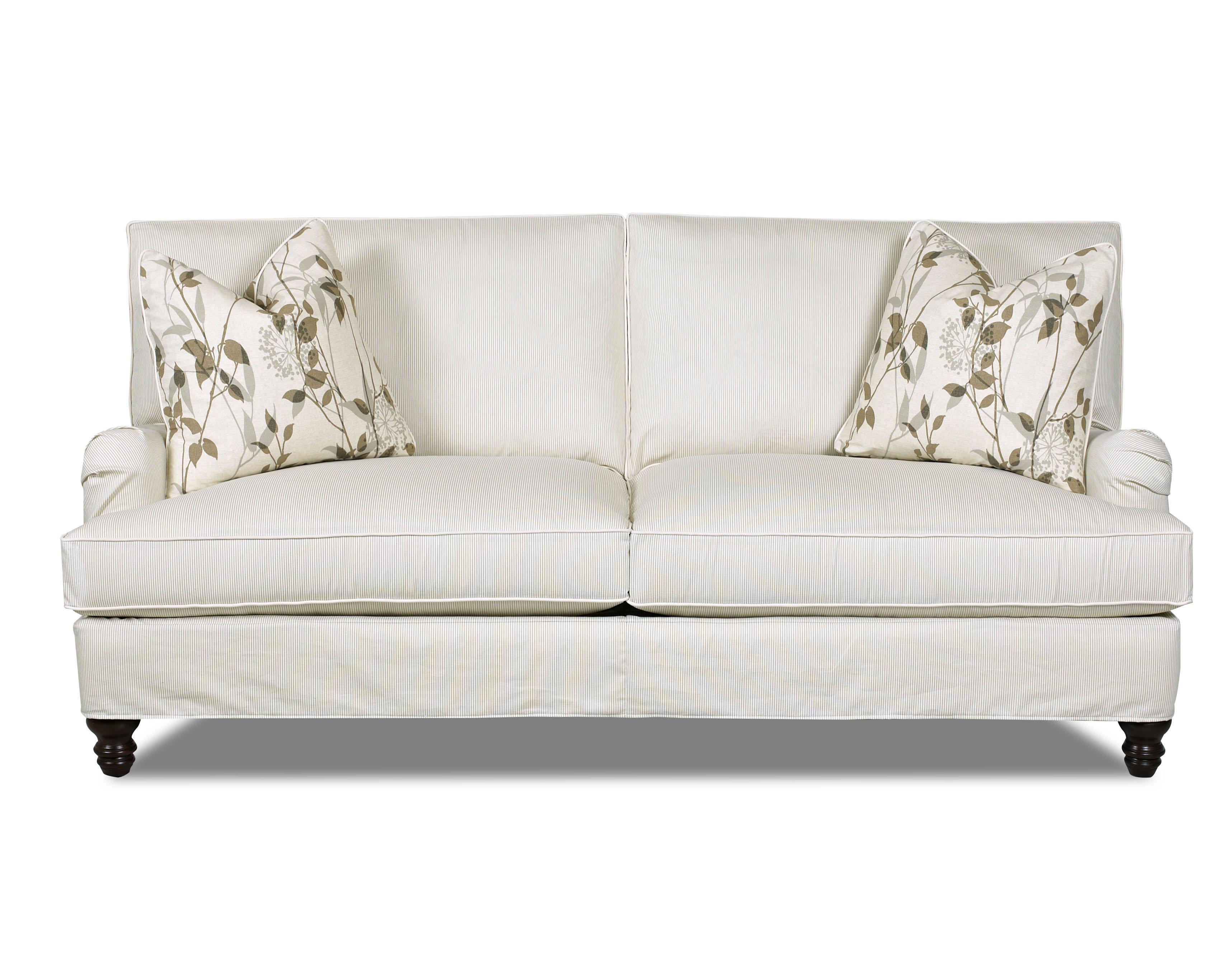 Traditional Stationary Sofa with Slip Cover and Charles of London