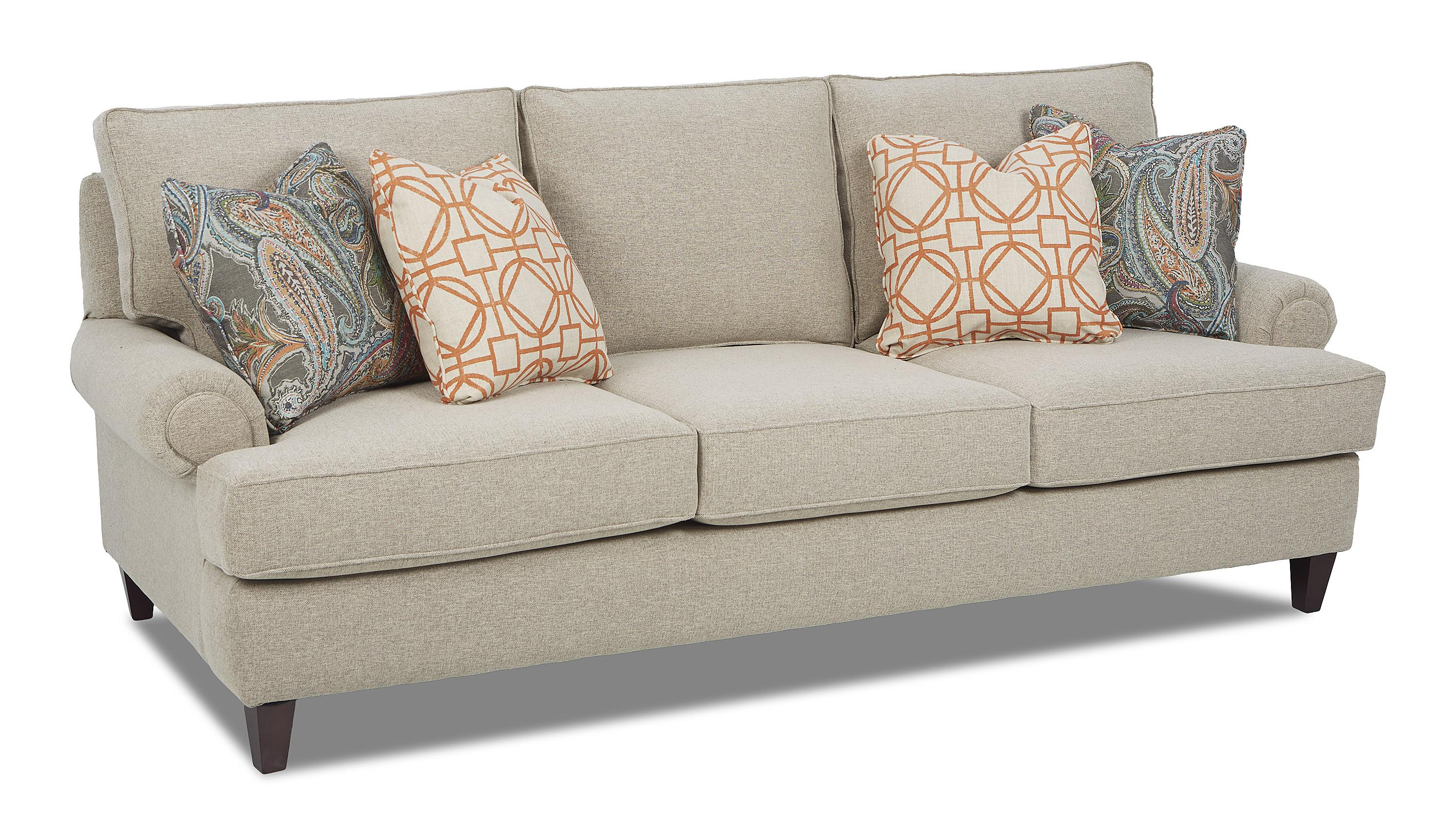 Traditional Stationary Sofa with Rolled Arms