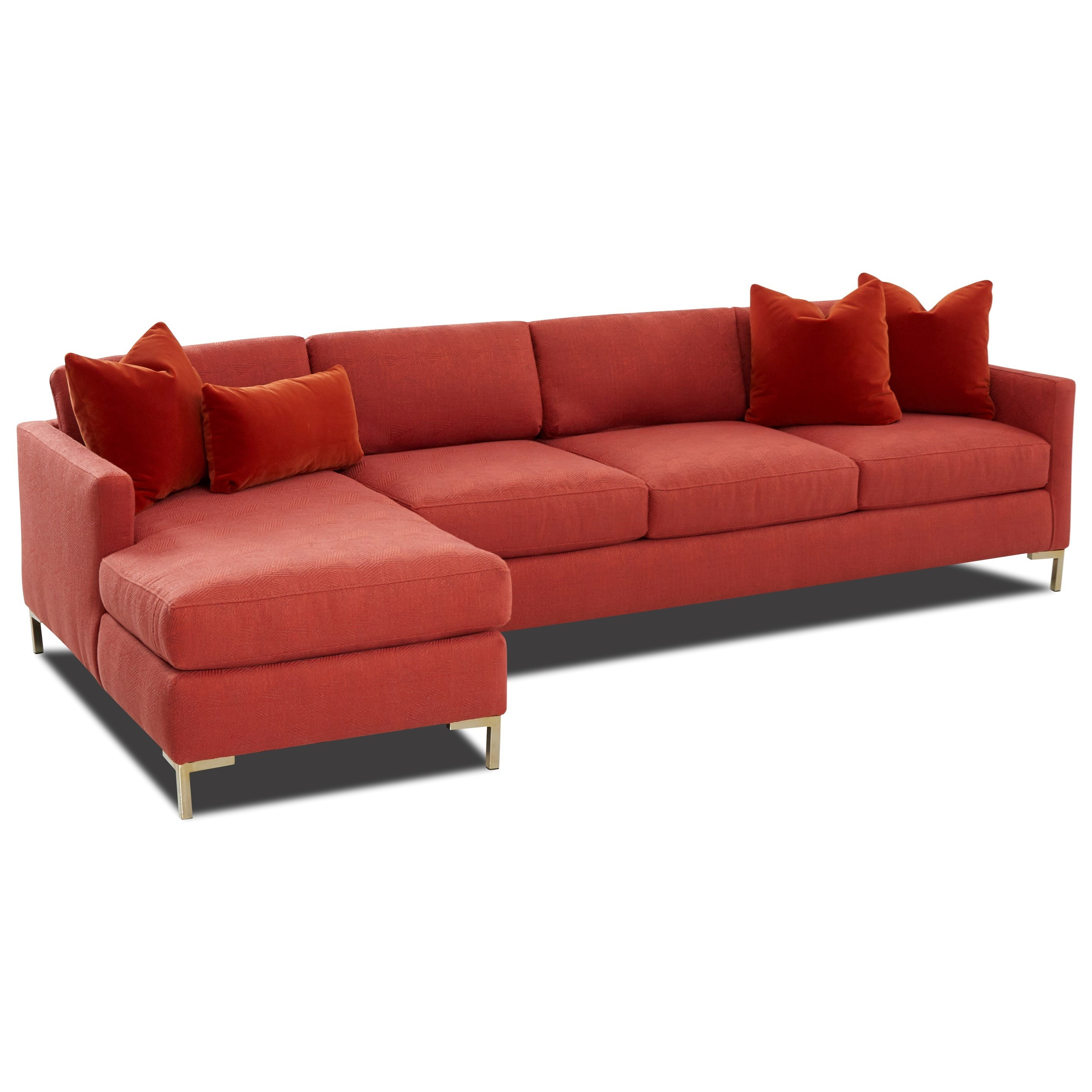 Contemporary 4-Seat Sectional Sofa with Arm Pillows and RAF Chaise