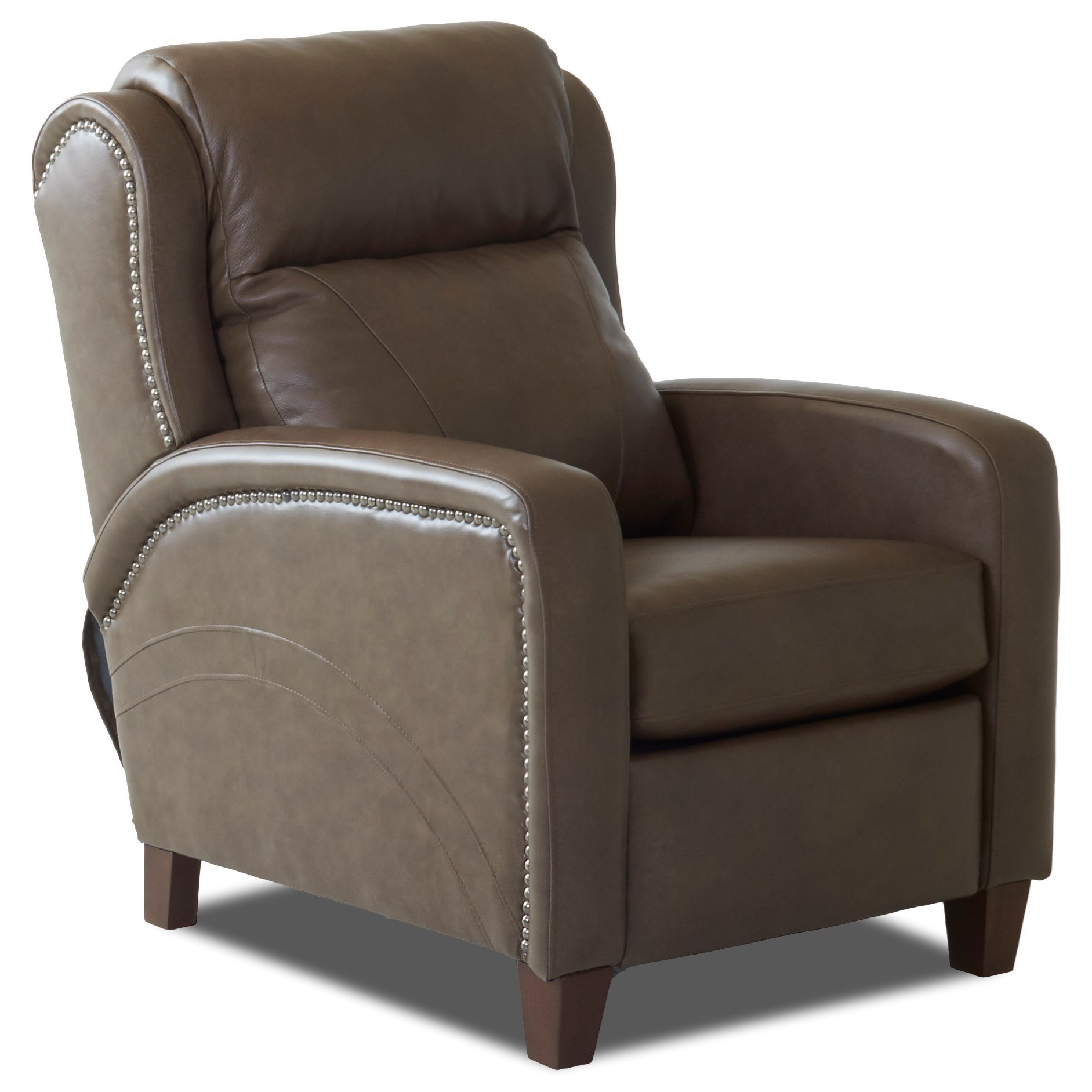 Transitional High Leg Reclining Chair with Nailheads