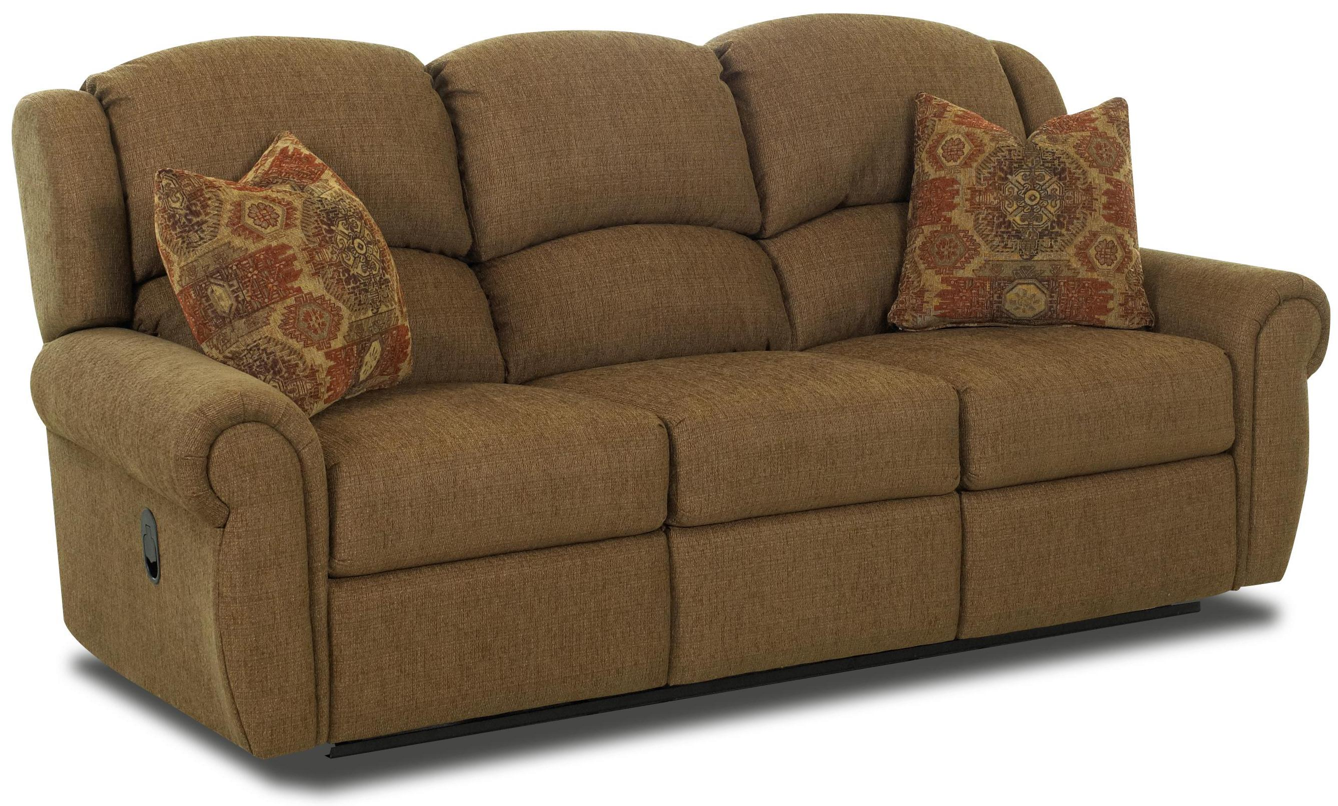 Traditional Reclining Sofa With Rolled Arms And Winged Pub Back By  ~ Traditional Reclining Sofa