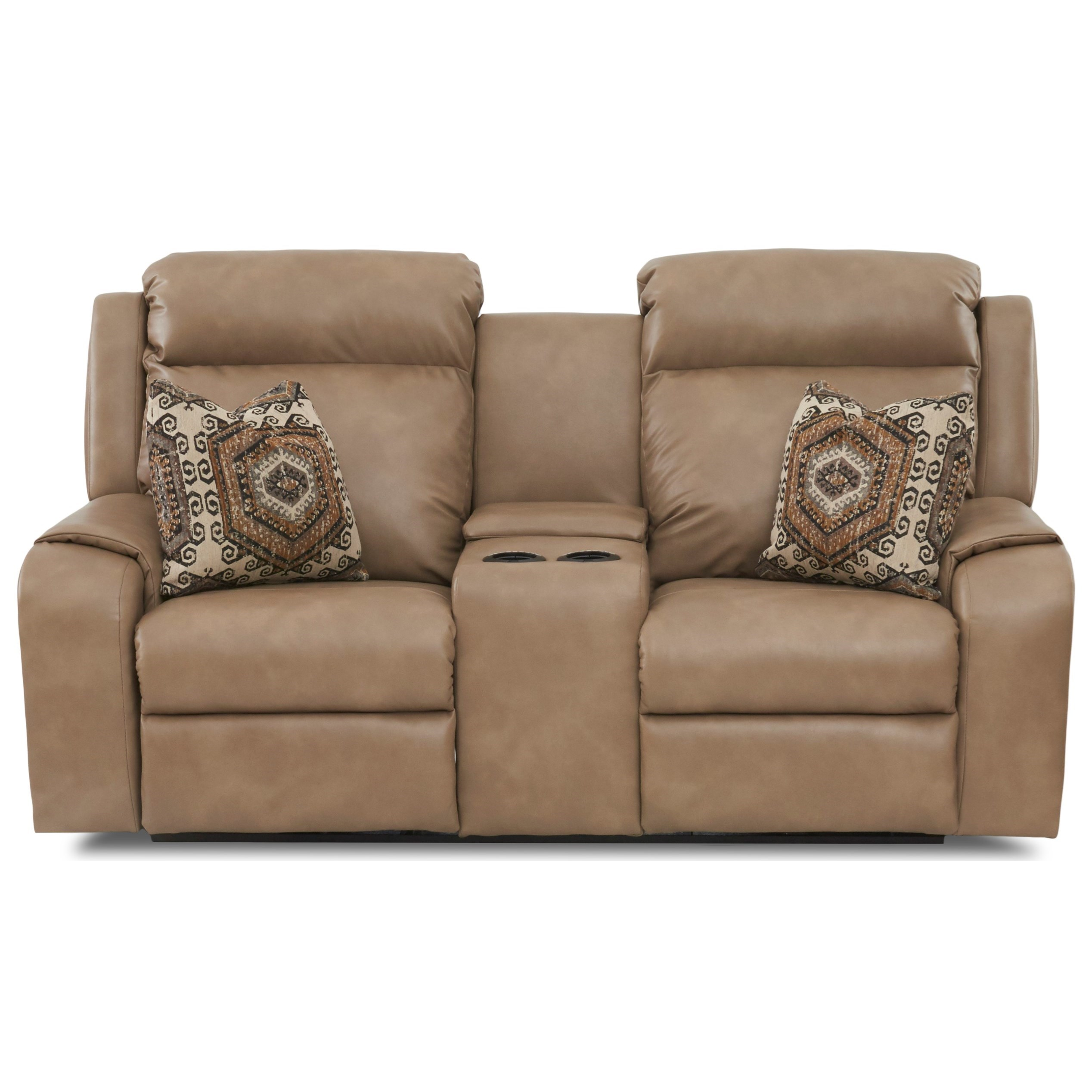 Power Console Reclining Loveseat with Power Headrests, USB Charging Ports, Toss Pillows