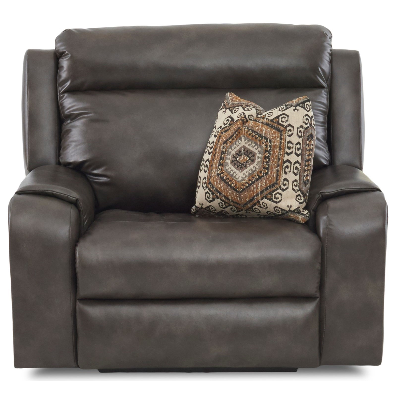 Recliner with Wide Seat and Toss Pillow