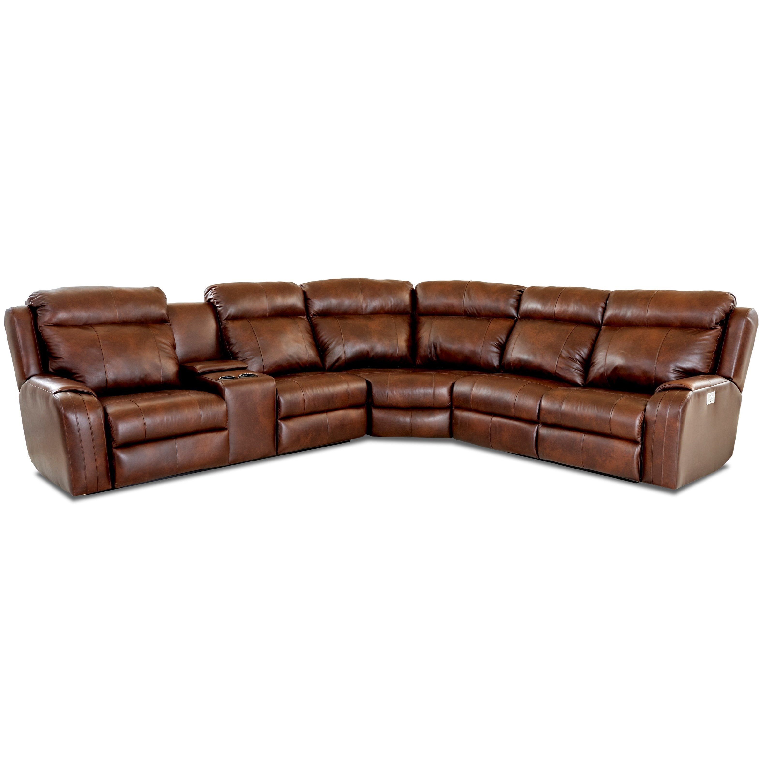 Four Seat Reclining Sectional Sofa With Cupholder Storage