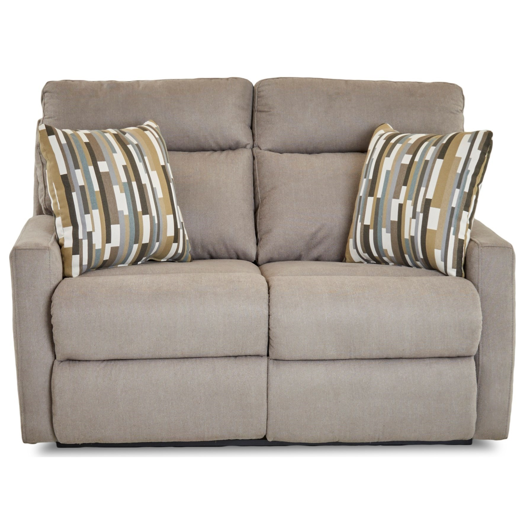 Power Reclining Loveseat with Track Arms and Pillows