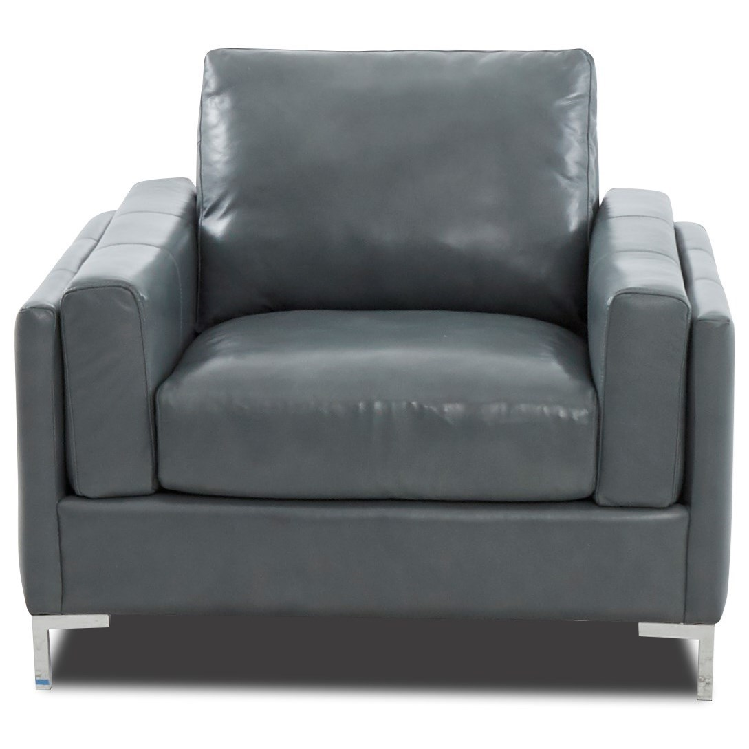 Contemporary Leather Chair with Metal Legs