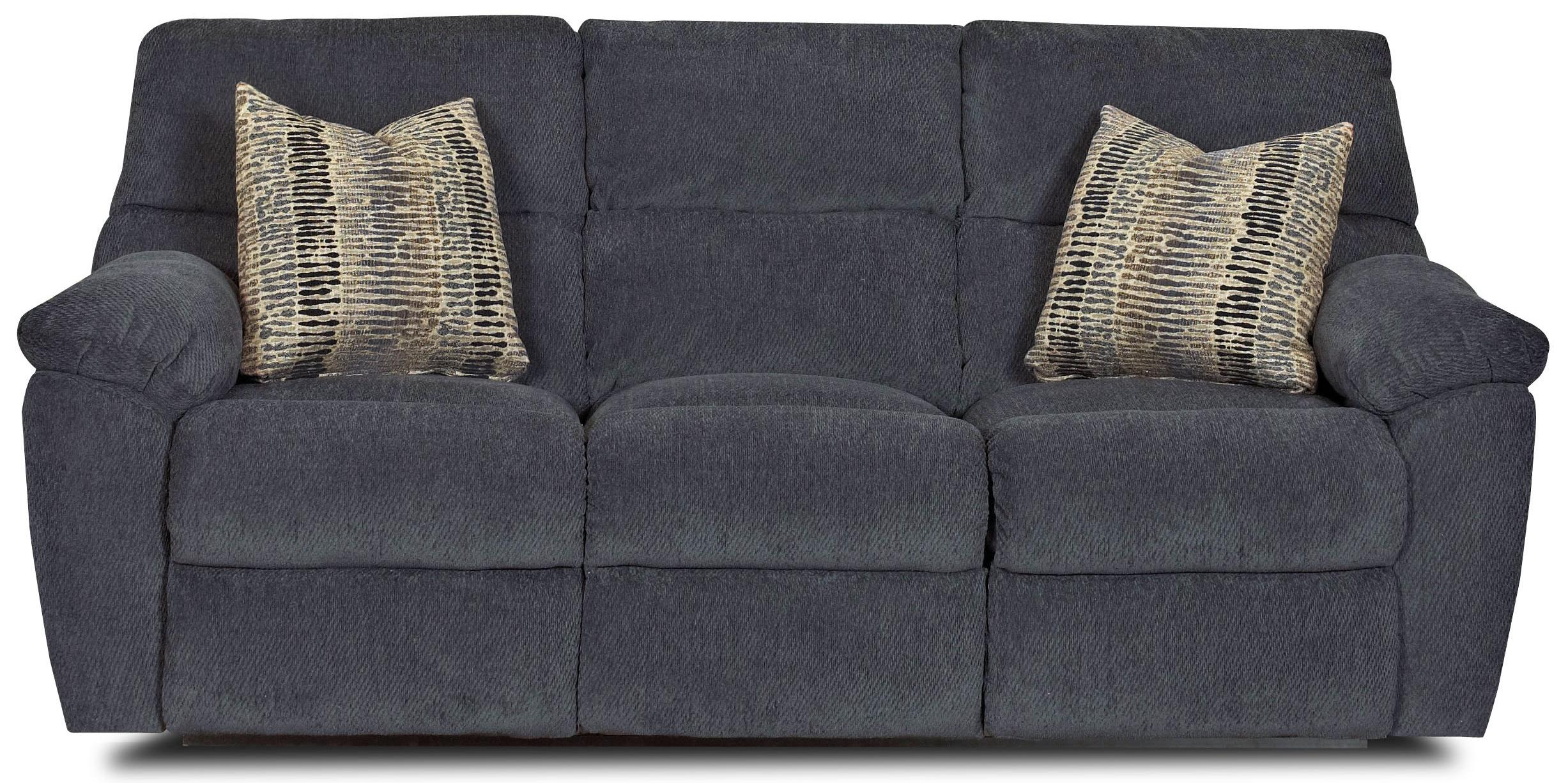 Casual Power Reclining Sofa with Pillow Arms and Accent Pillows