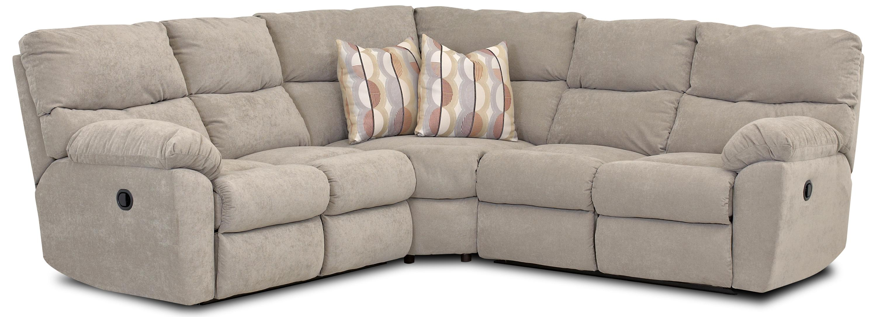Casual Power Reclining Sectional with Accent Pillows by Klaussner
