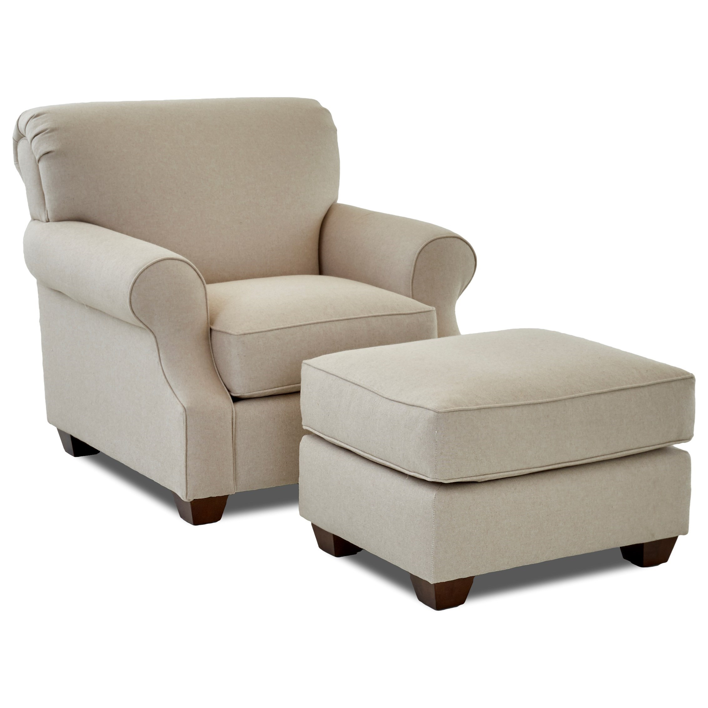 Casual Upholstered Chair and Ottoman
