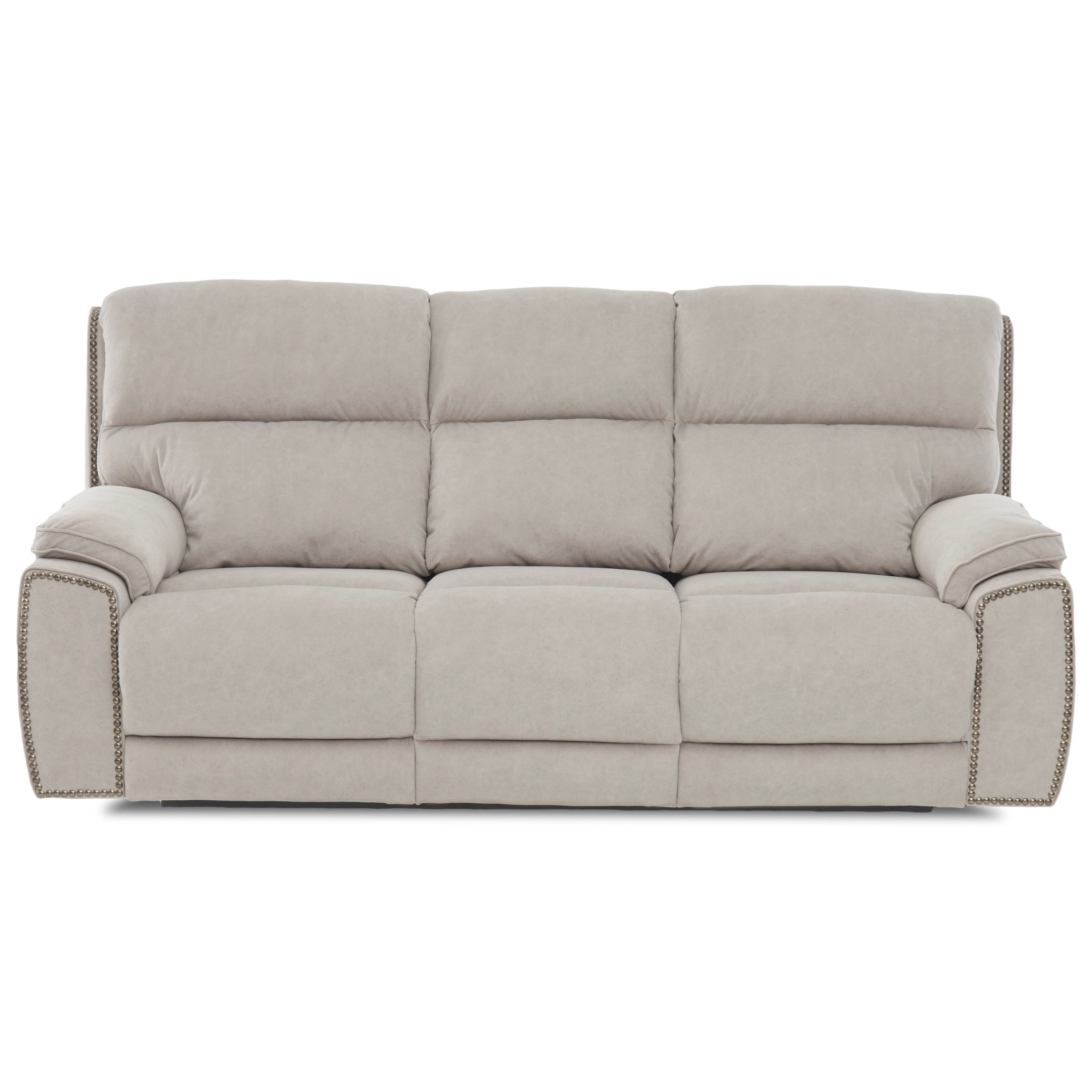 Power Reclining Sofa with Nailheads and USB Charging Ports
