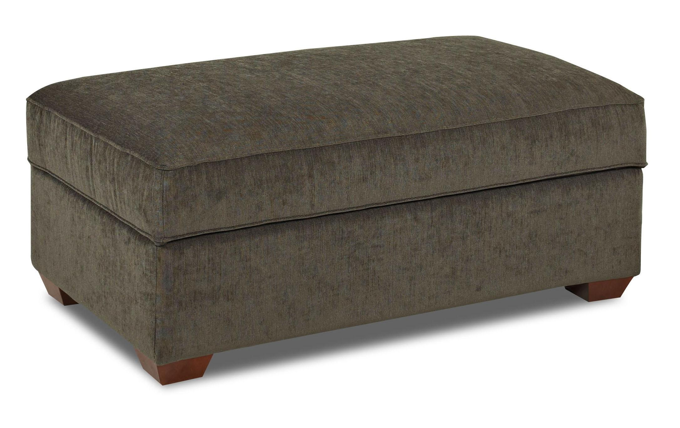 Storage Cocktail Ottoman with Exposed Wood Feet