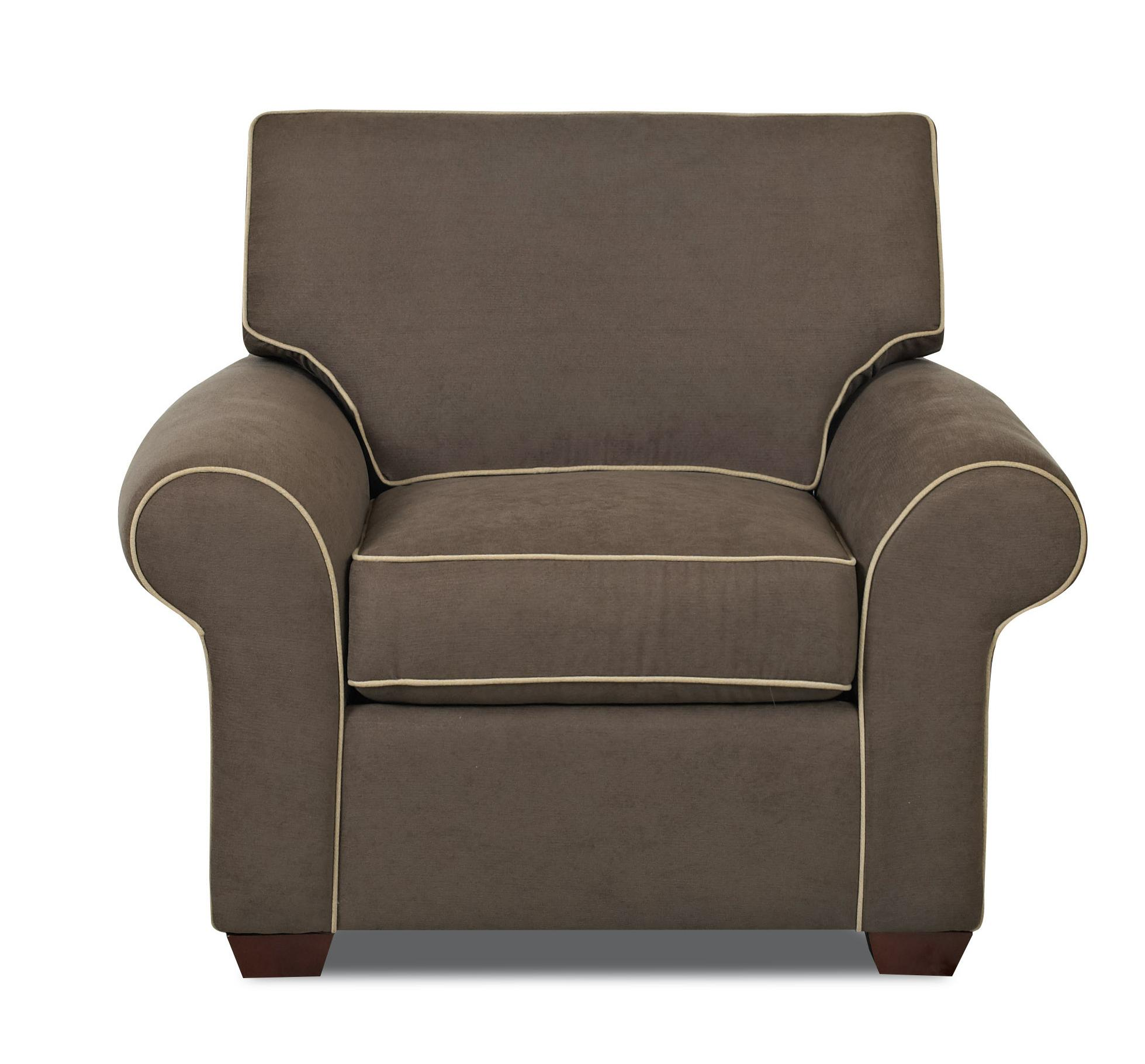Upholstered Chair with Rolled Arms and Wood Feet