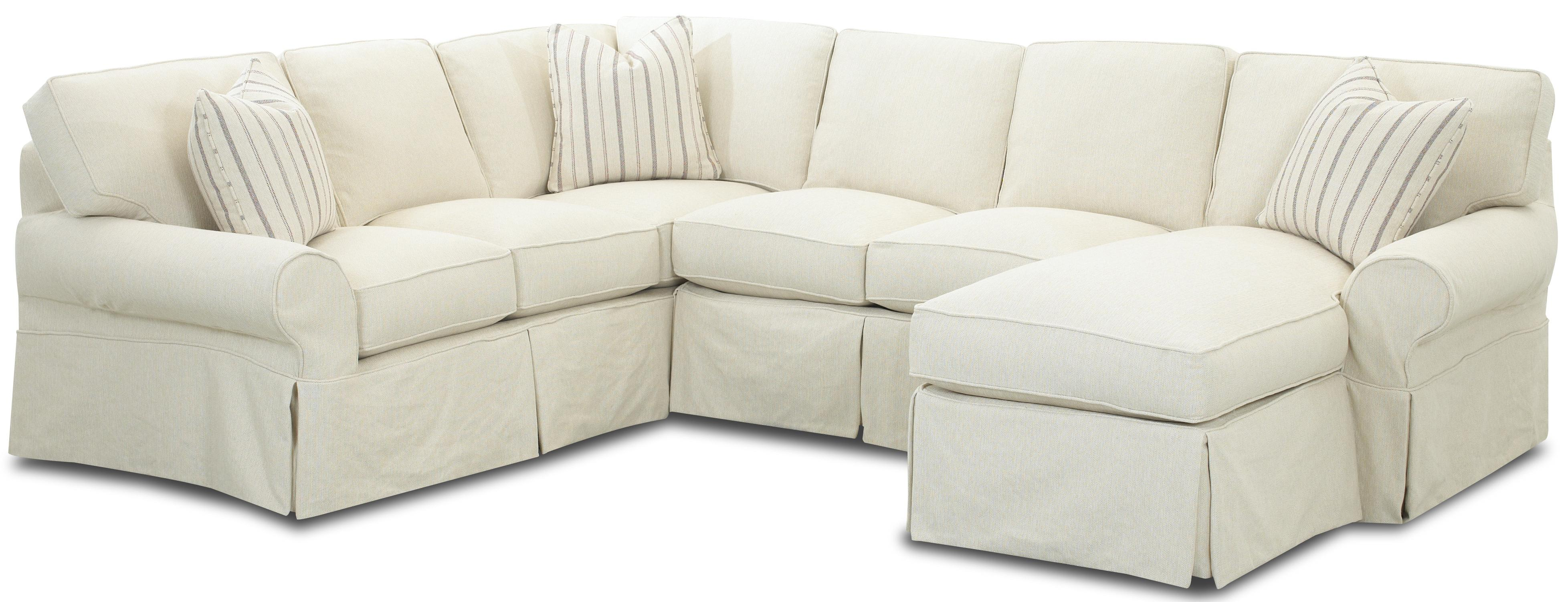 Slipcovered Sectional Sofa with Right Chaise by Klaussner