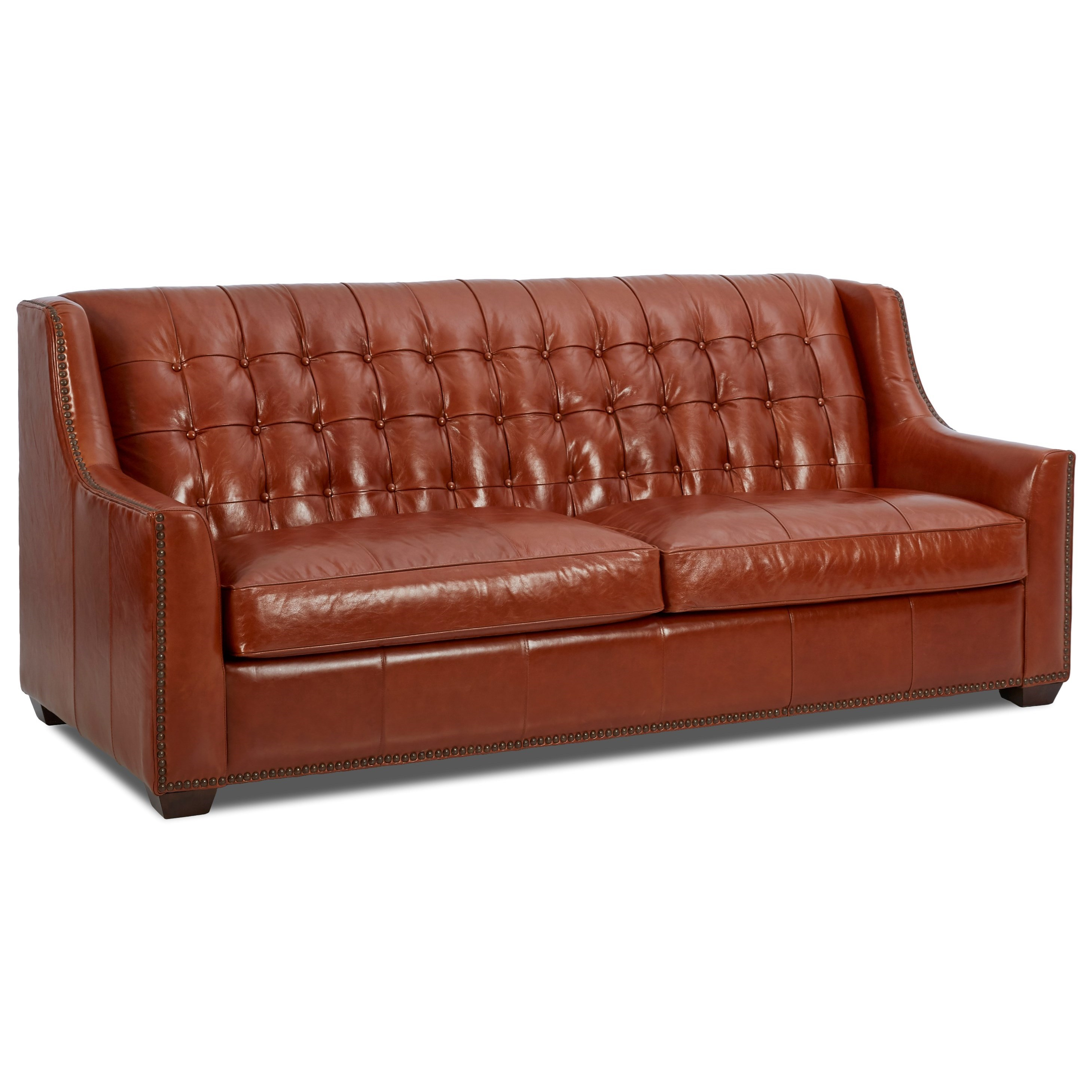 Transitional Leather Sofa with Button Tufting by Klaussner
