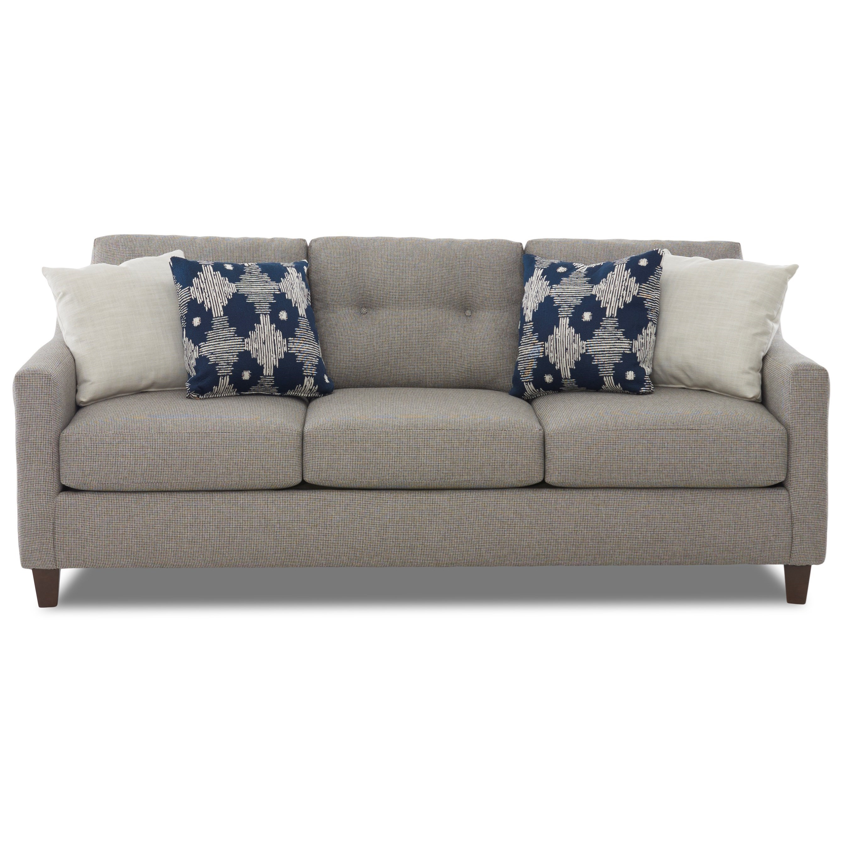 Contemporary Sofa with Loose Tufted Back Cushions and Track Arms