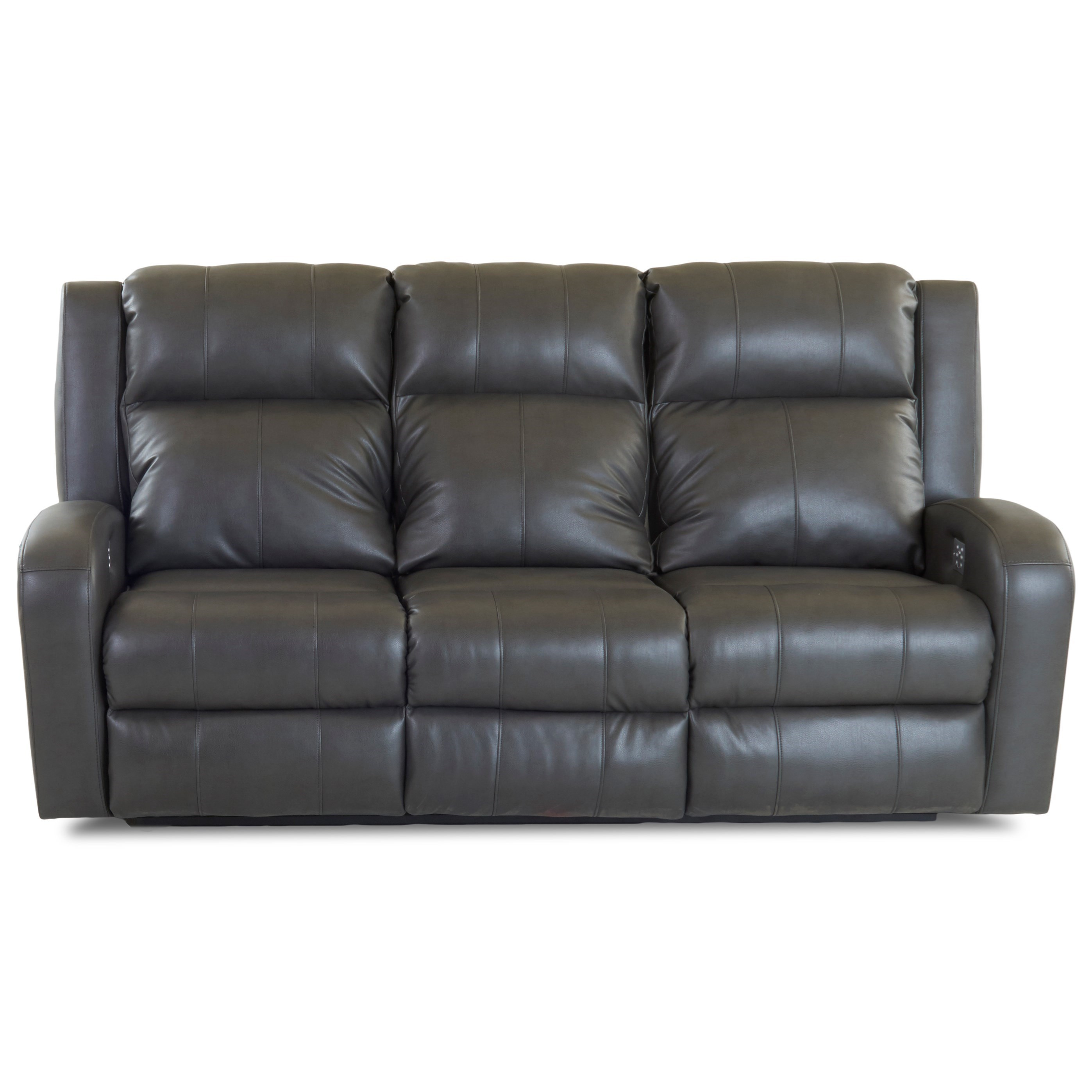 Casual Power Reclining Sofa with Power Headrests and Power Lumbar