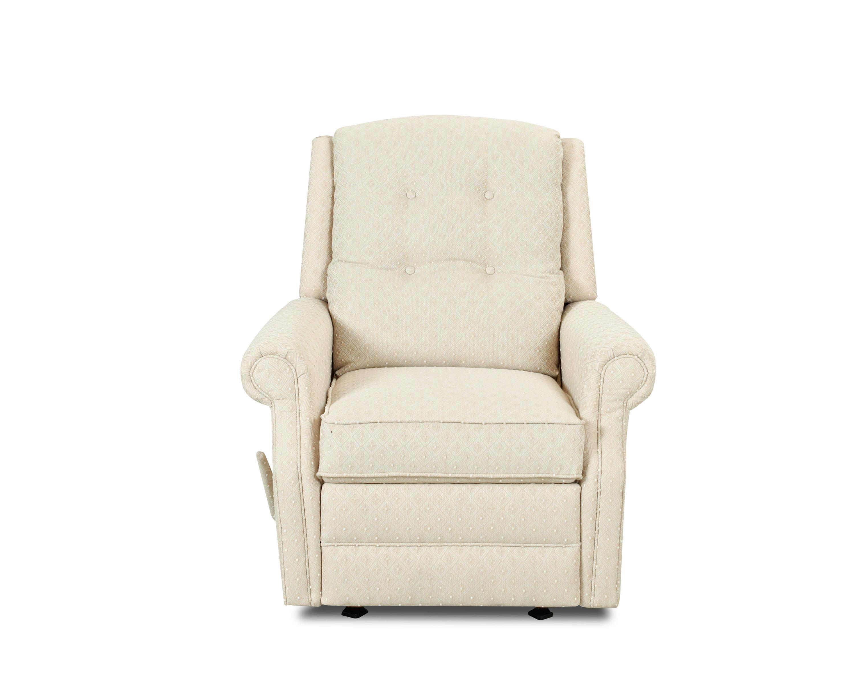 transitional swivel gliding reclining chair with button tufting by