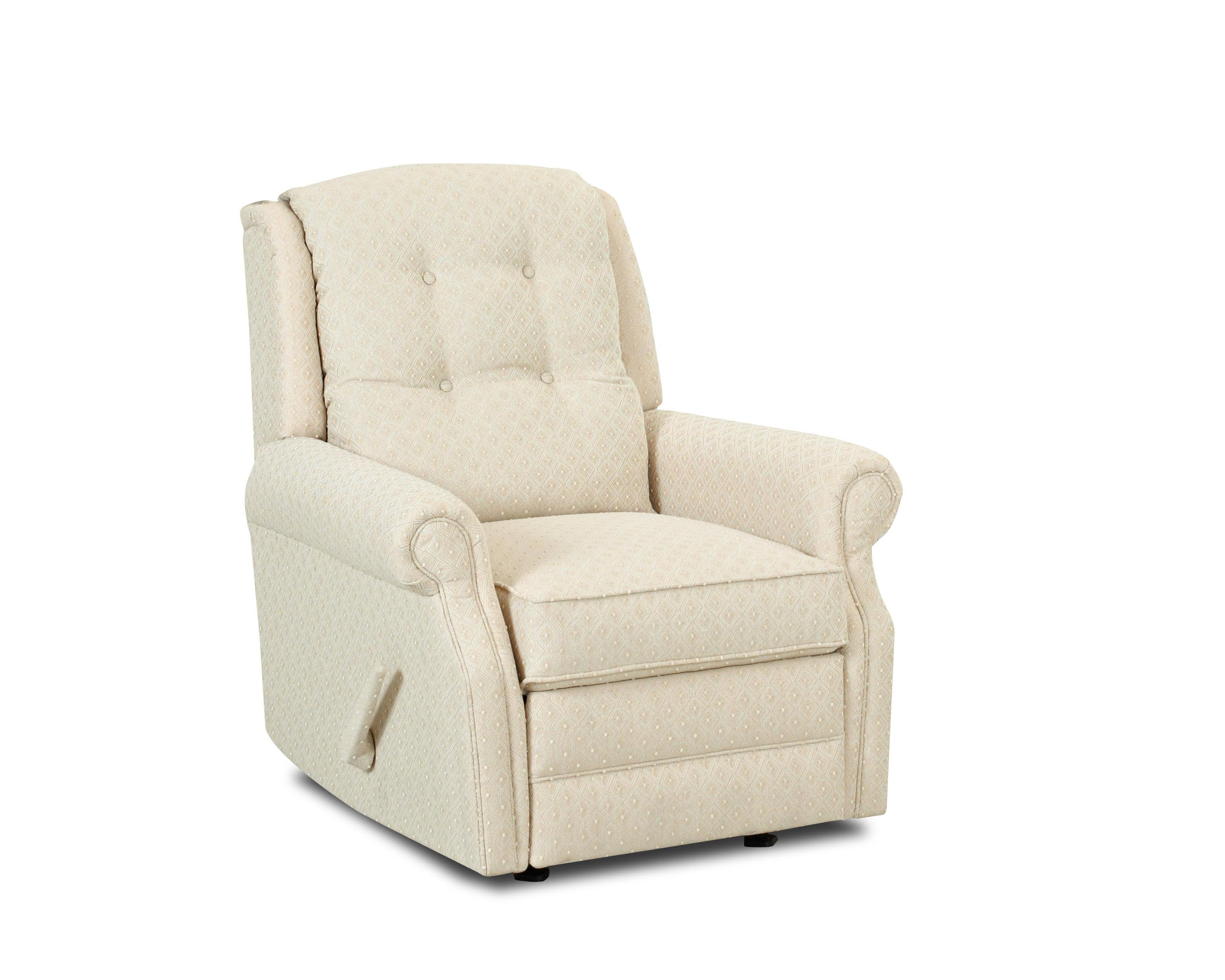 Transitional Manual Swivel Rocking Reclining Chair with Button Tufting  sc 1 st  Wolf Furniture : upholstered reclining chairs - islam-shia.org