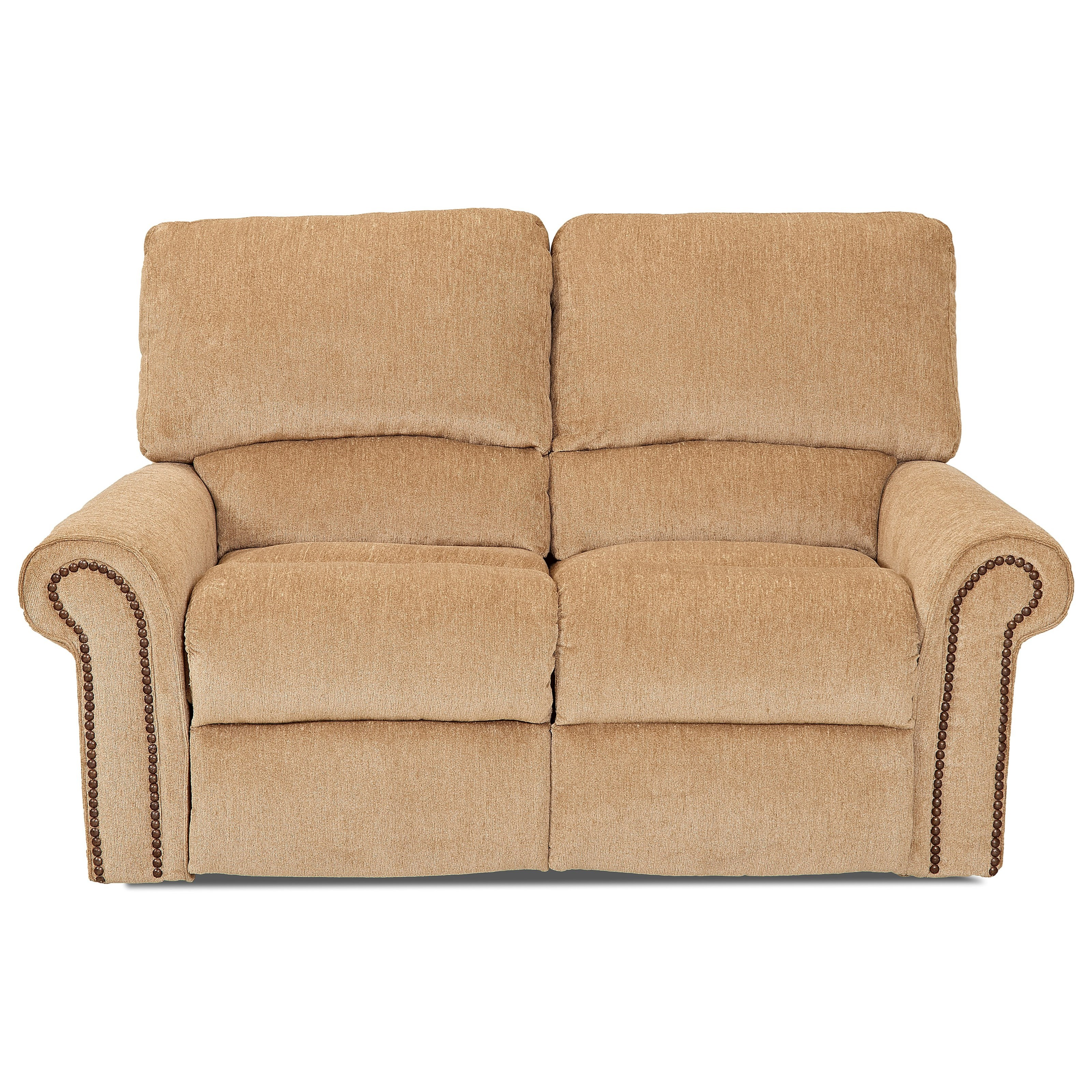 Power Reclining Loveseat With Rolled Arms And Nailheads By Klaussner