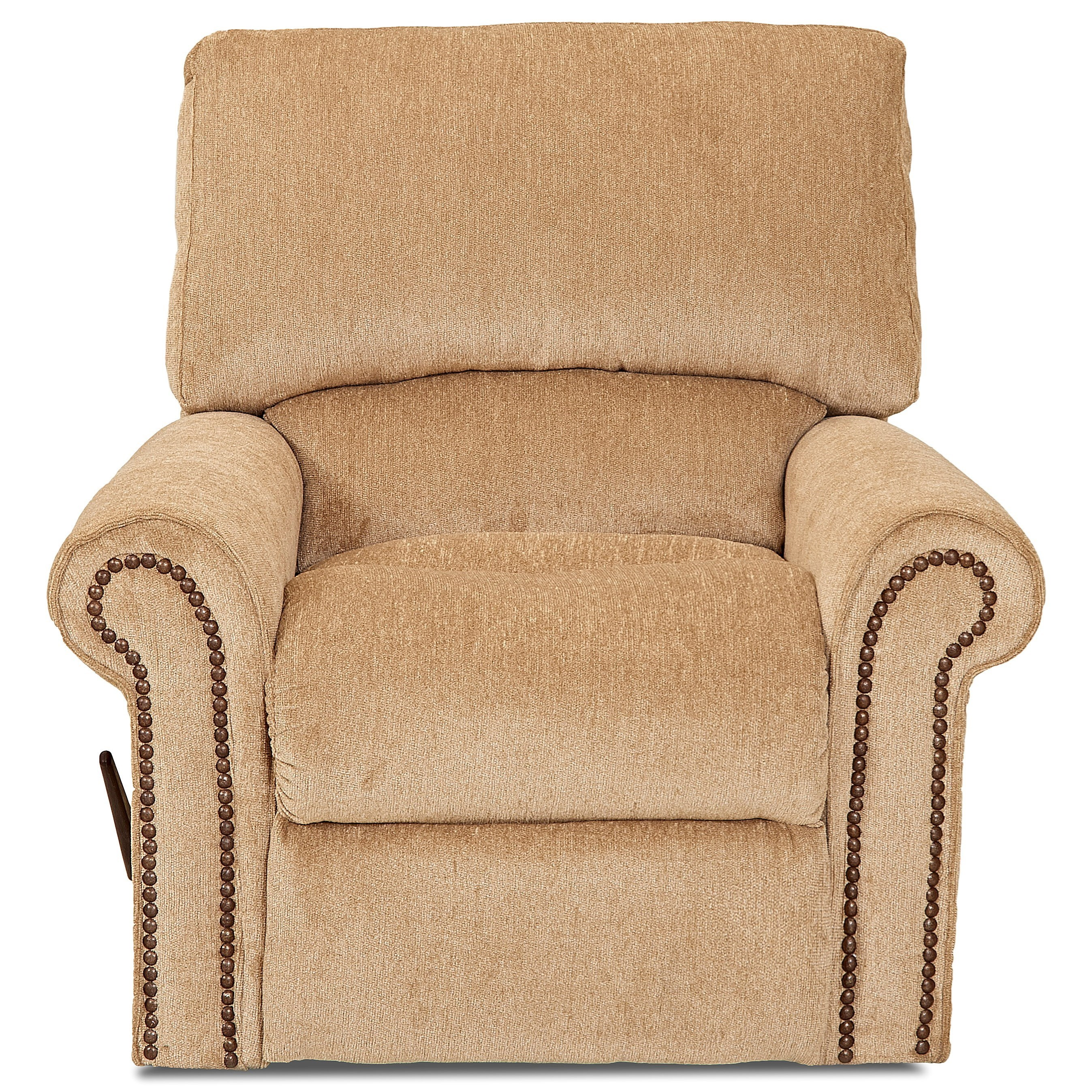 Swivel Rocker Recliner with Rolled Arms and Nailheads