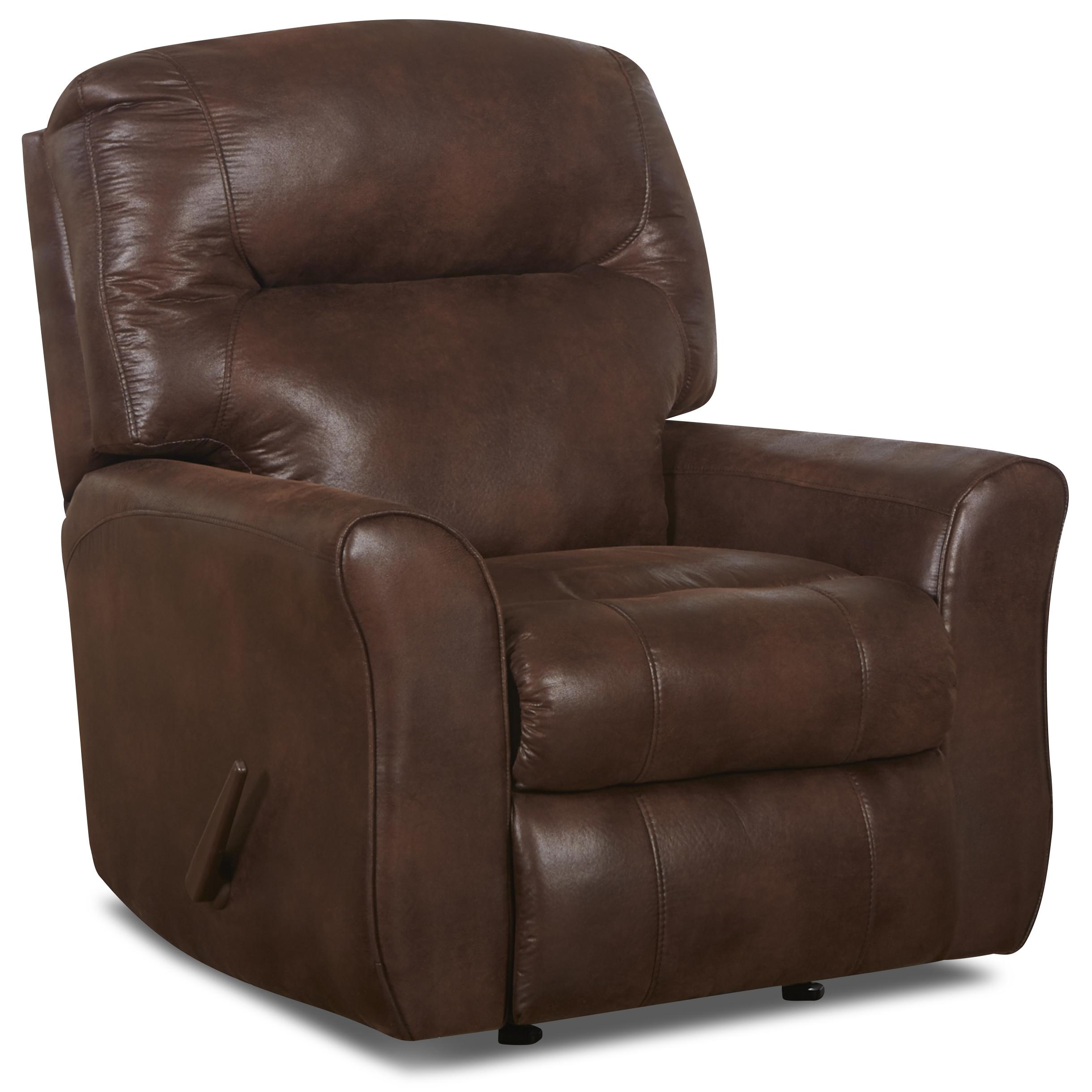 Casual Leather Reclining Chair with Attached Back Pillows and Outside Handle Activation