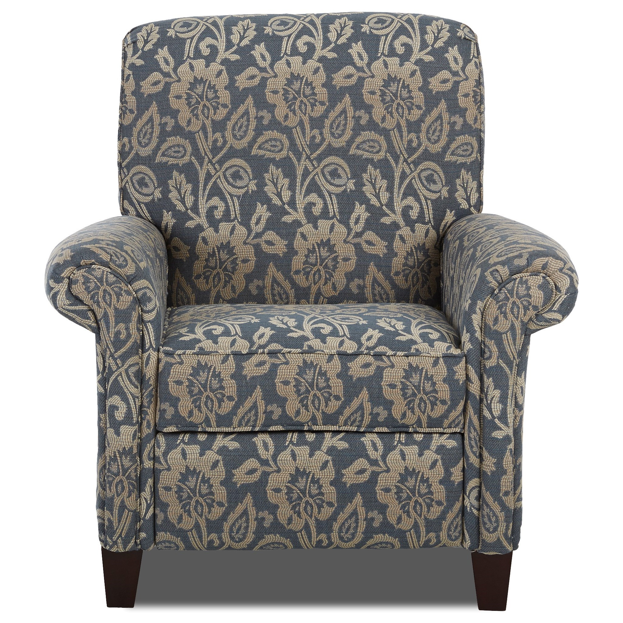 Transitional Rolled Arm Push Back Recliner