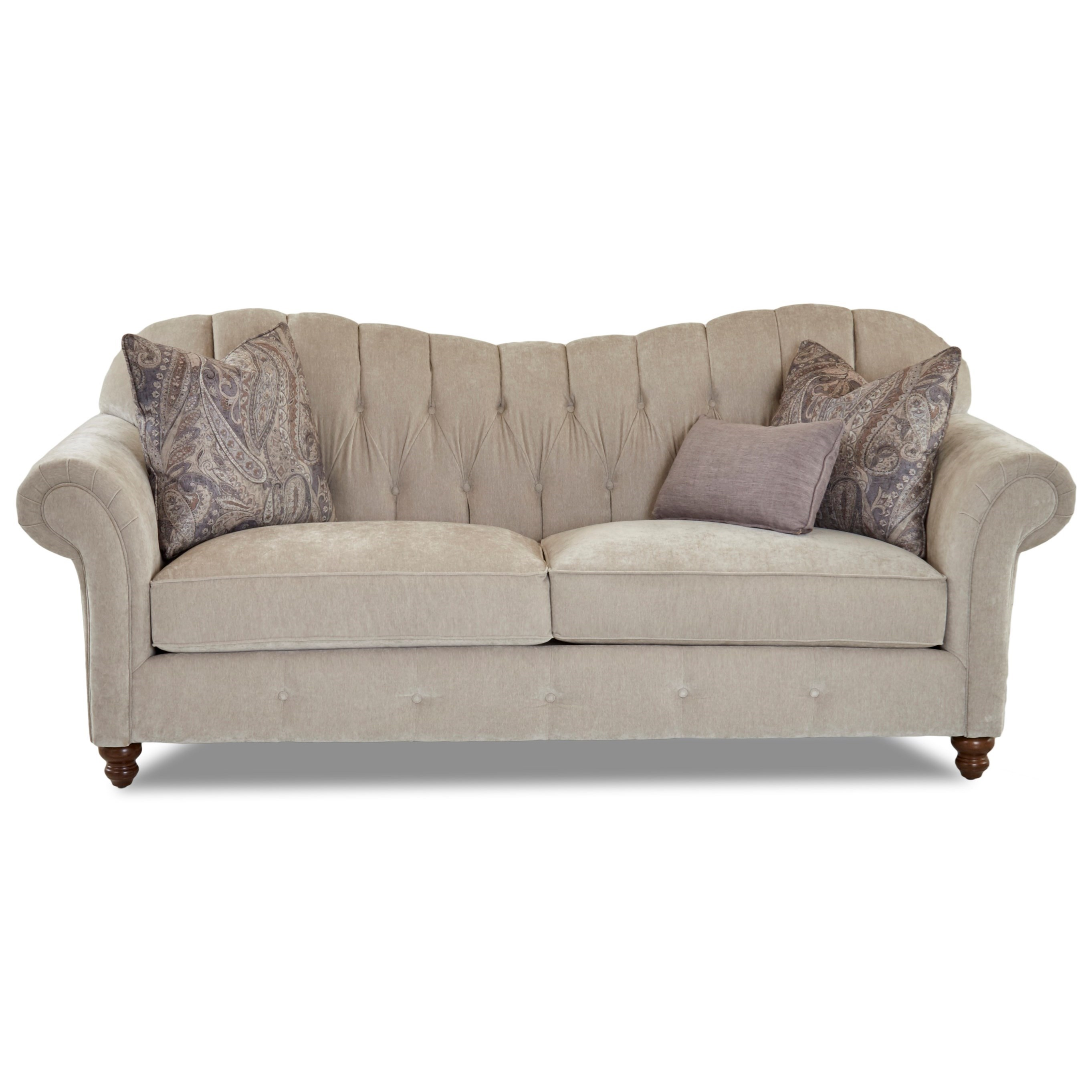 Traditional Sweetheart Back Sofa with Button Tufting