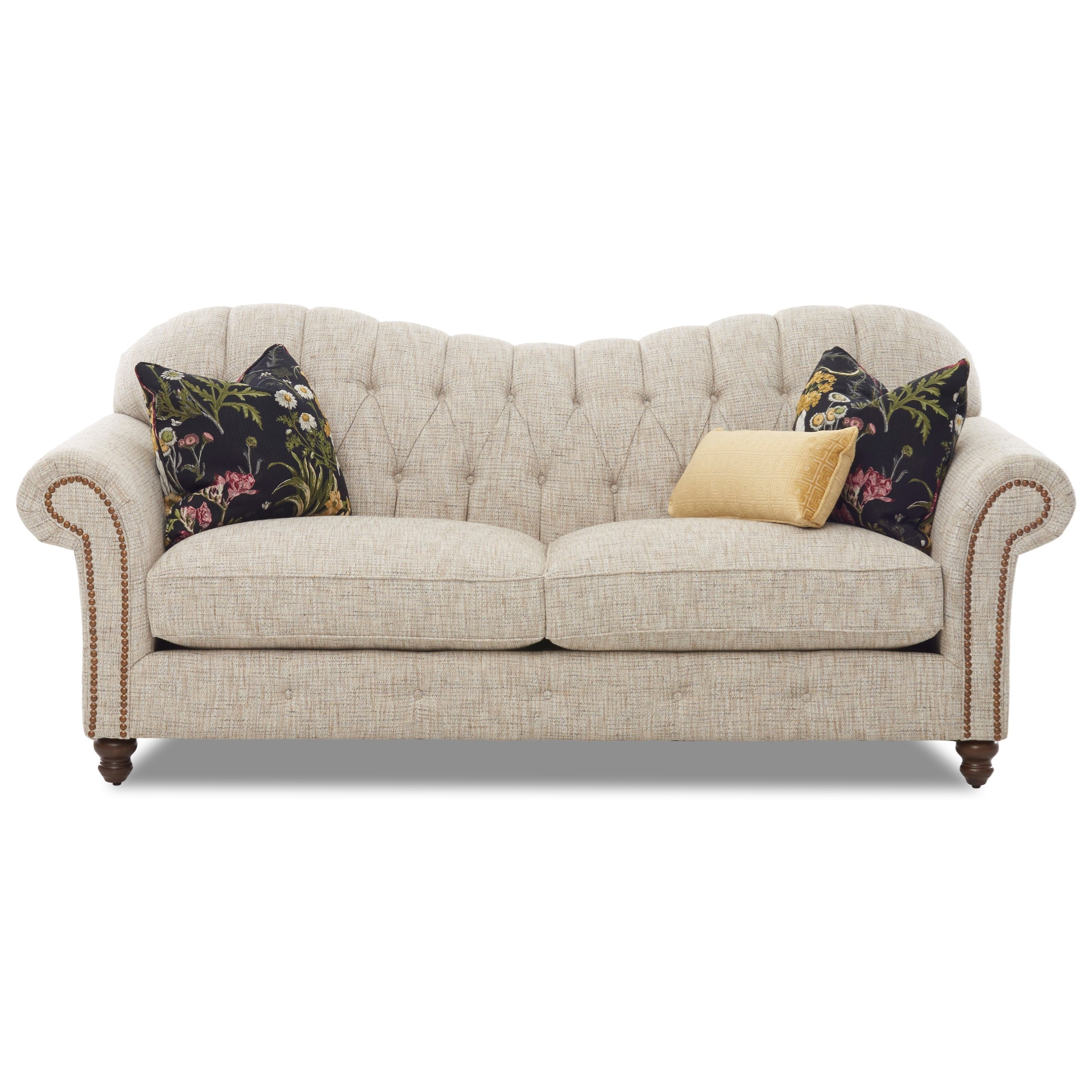 Traditional Sweetheart Back Sofa with Button Tufting and Nailheads
