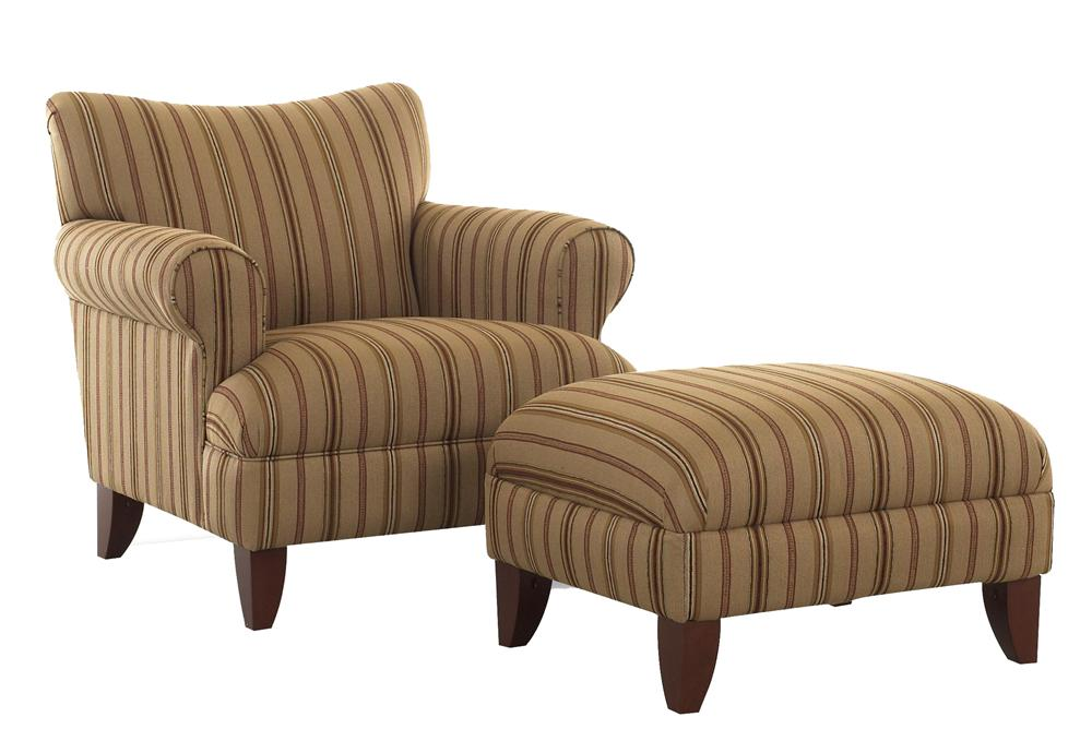 Upholstered Chair with Rolled Arms and Ottoman with Wood Legs