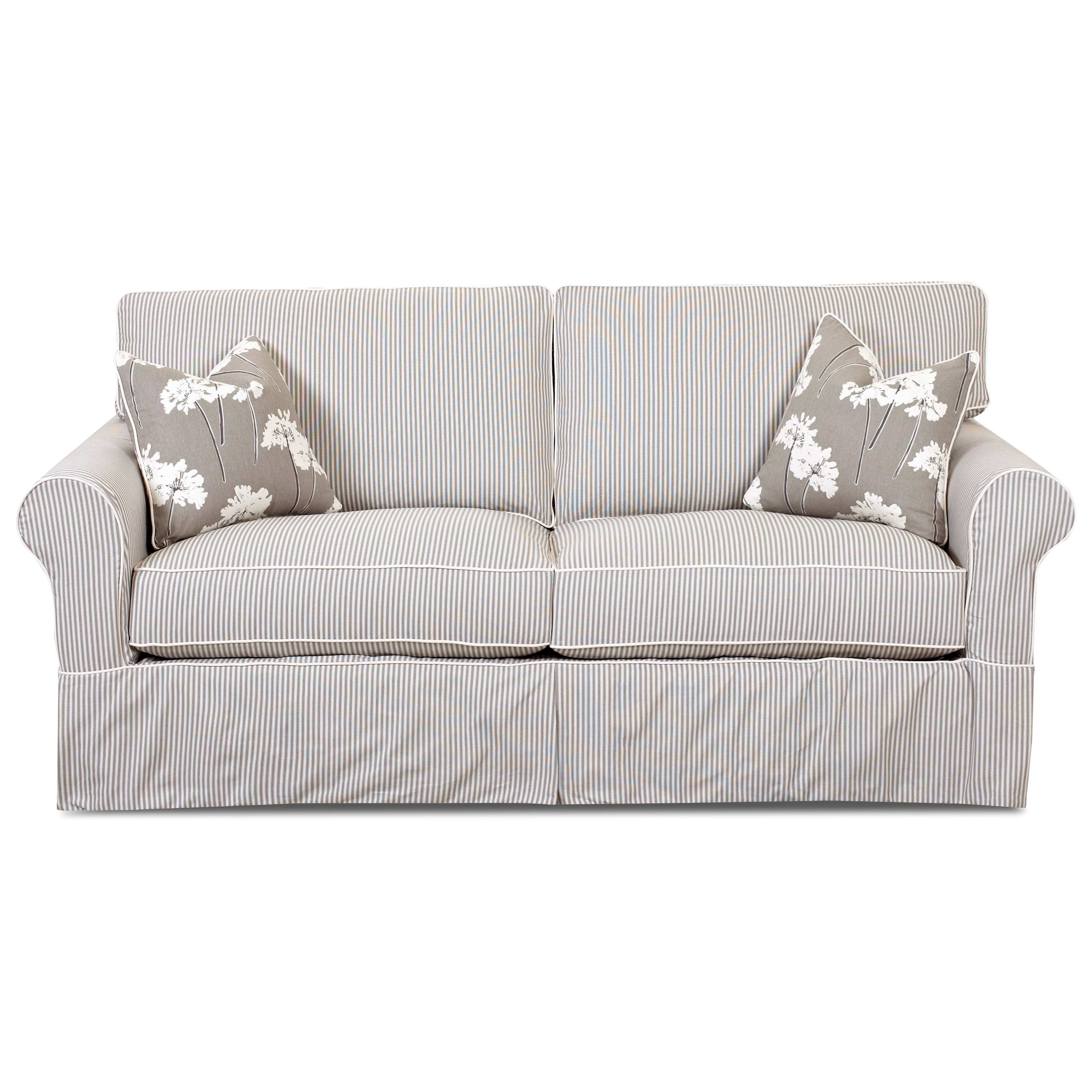 Traditional Regular Dreamquest Sleeper Sofa with Rolled Arms and Skirted Base