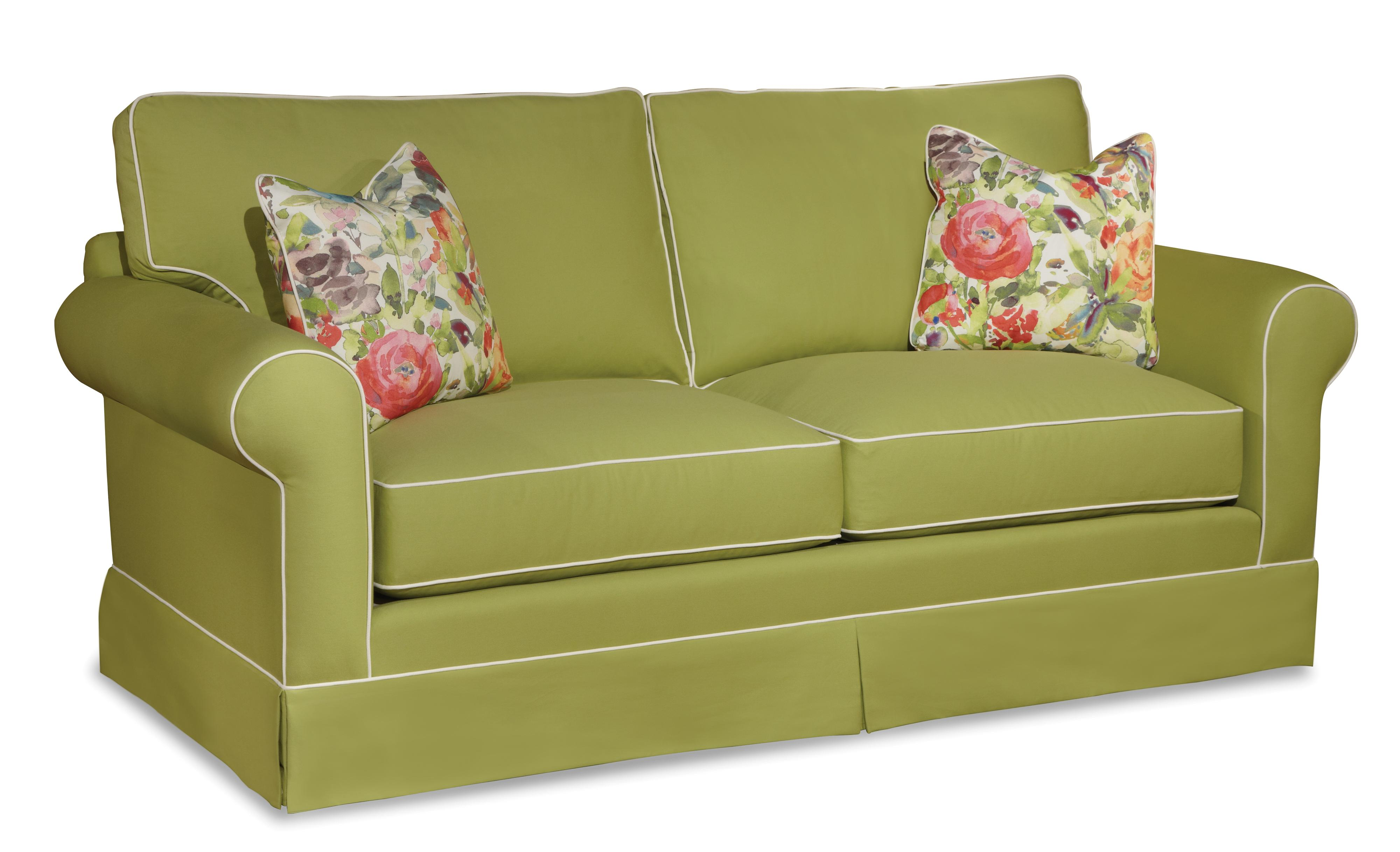 Traditional Sofa With Rolled Arms And Skirted Base By