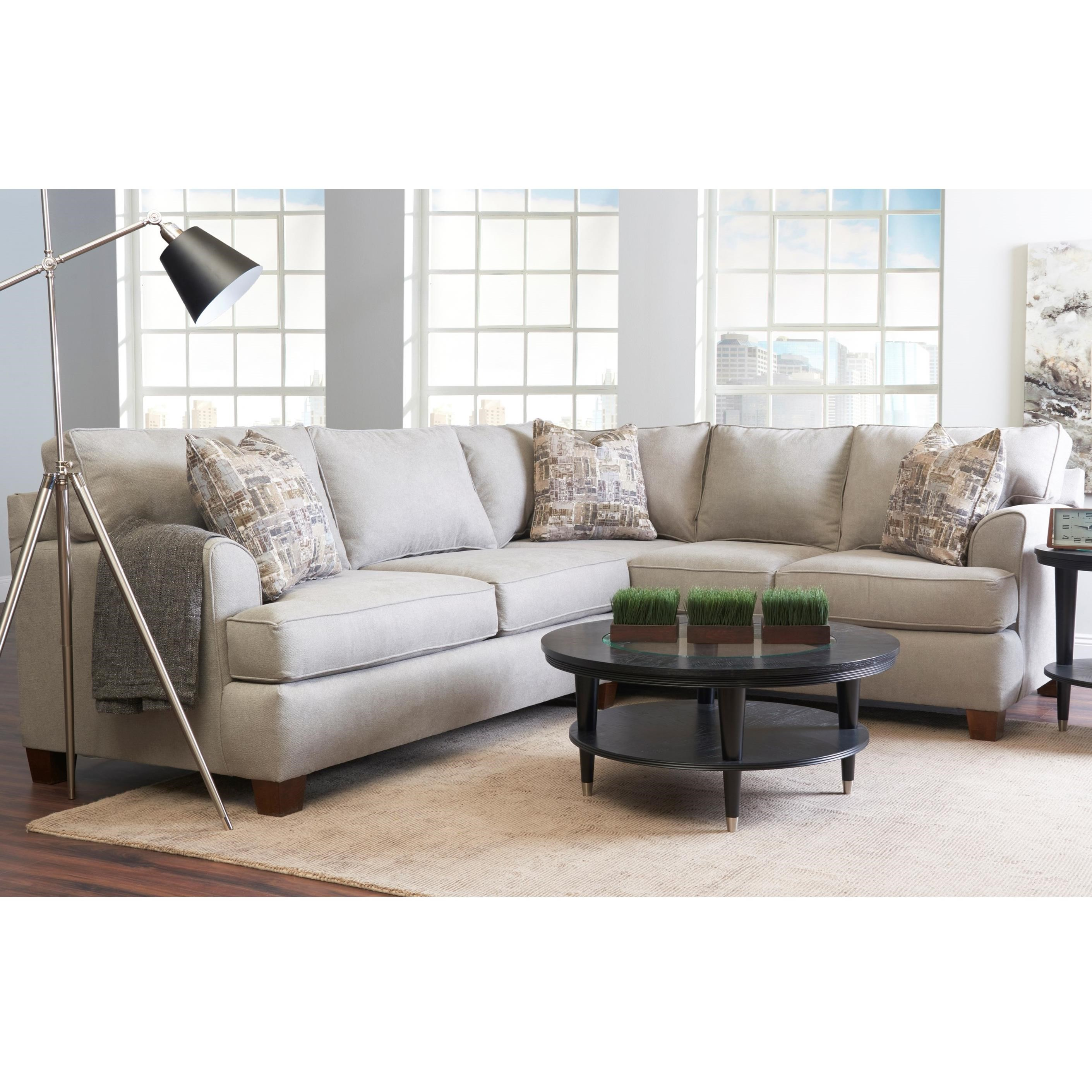 Casual 2-Piece Sectional with Left-Facing Love Seat