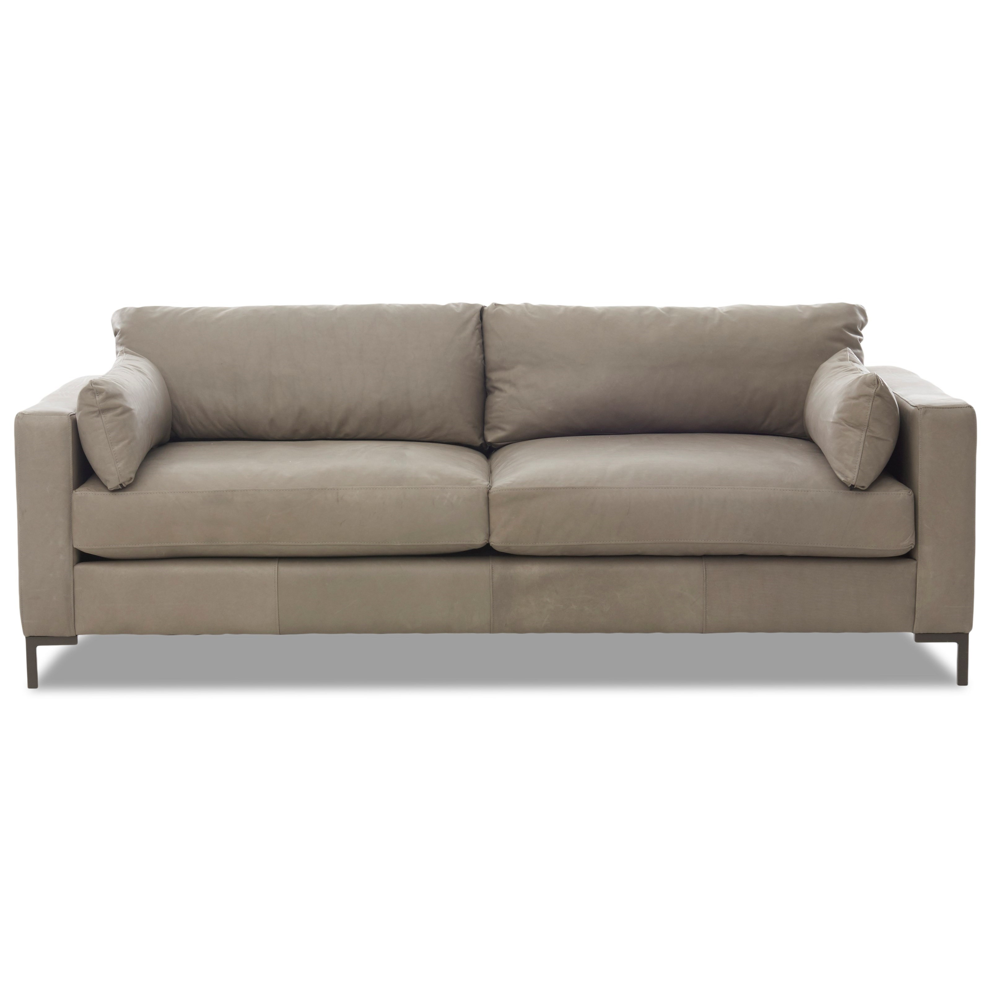 Contemporary Sofa with Track Arms and Metal Legs