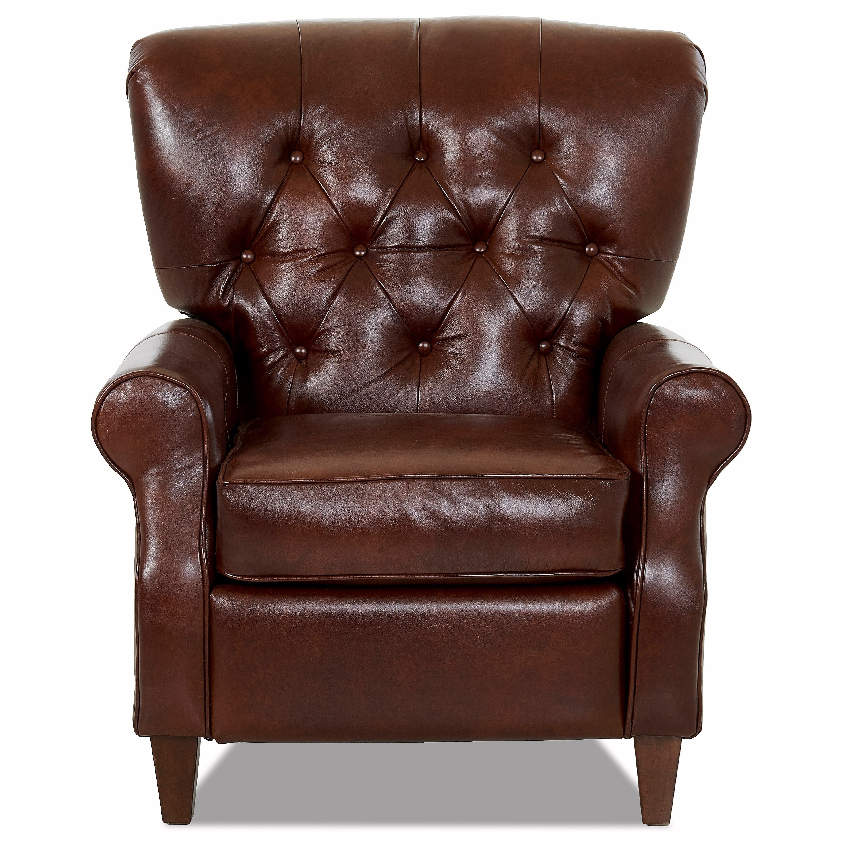 Traditional High Leg Recliner with Tufted Back