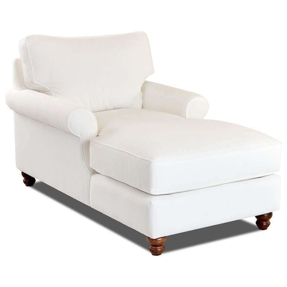 Traditional Chaise Lounge with Rolled Arms