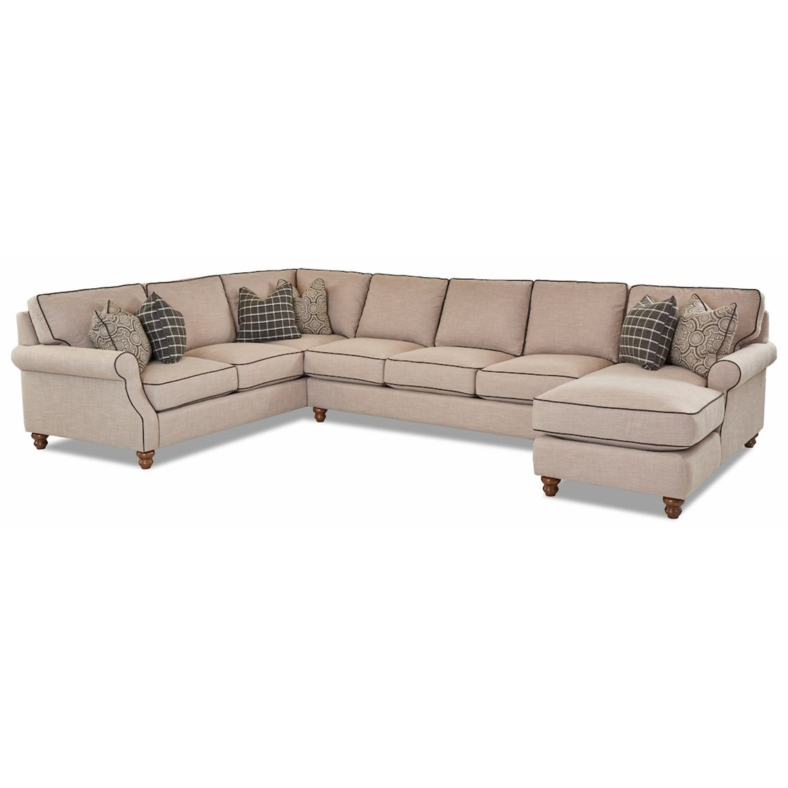 Traditional 3 Piece Sectional Sofa with RAF Chaise