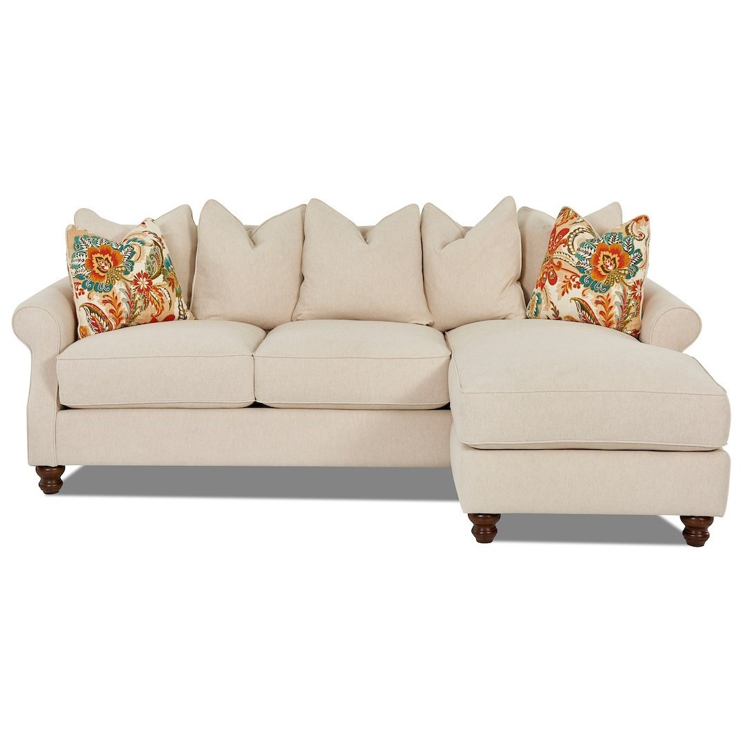 Traditional 2 Piece Sectional Sofa with Scattered Back Pillows