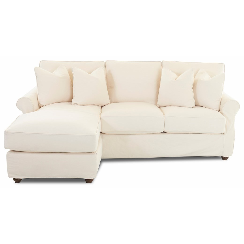 Traditional 2 Piece Slipcover Sectional Sofa with LAF Chaise