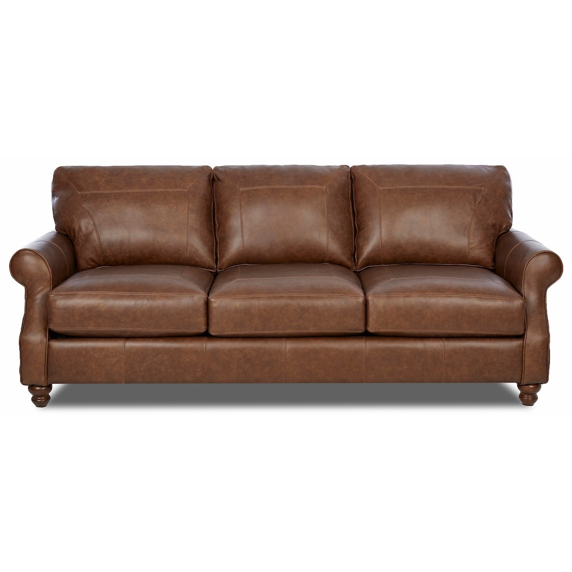 Traditional Extra Large Leather Sofa with Rolled Arms