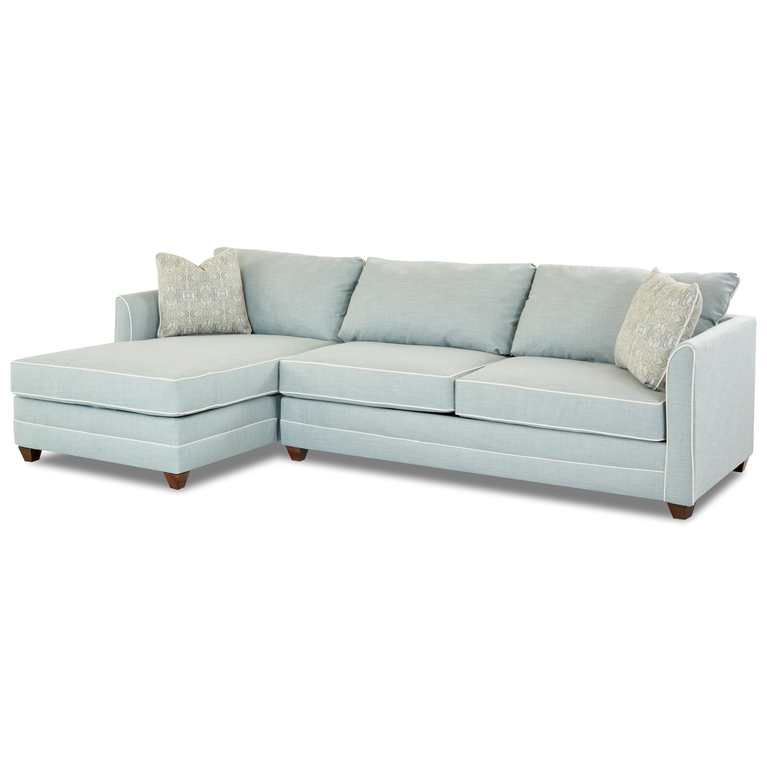 Two Piece Sectional Sofa with RAF Sleeper Sofa and Enso Memory Foam Mattress