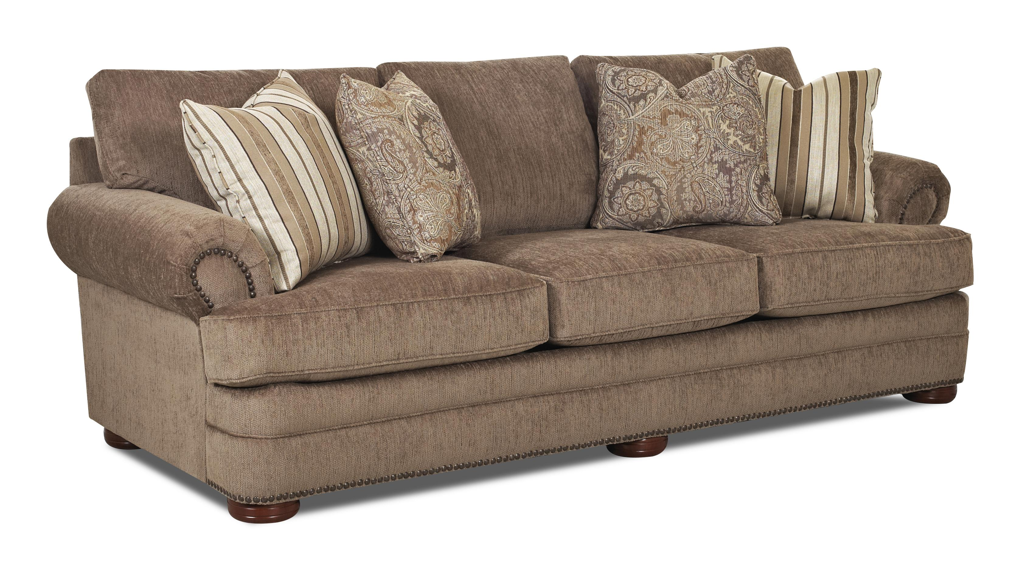 Traditional Sofa With Rolled Arms And Nailhead Trim By