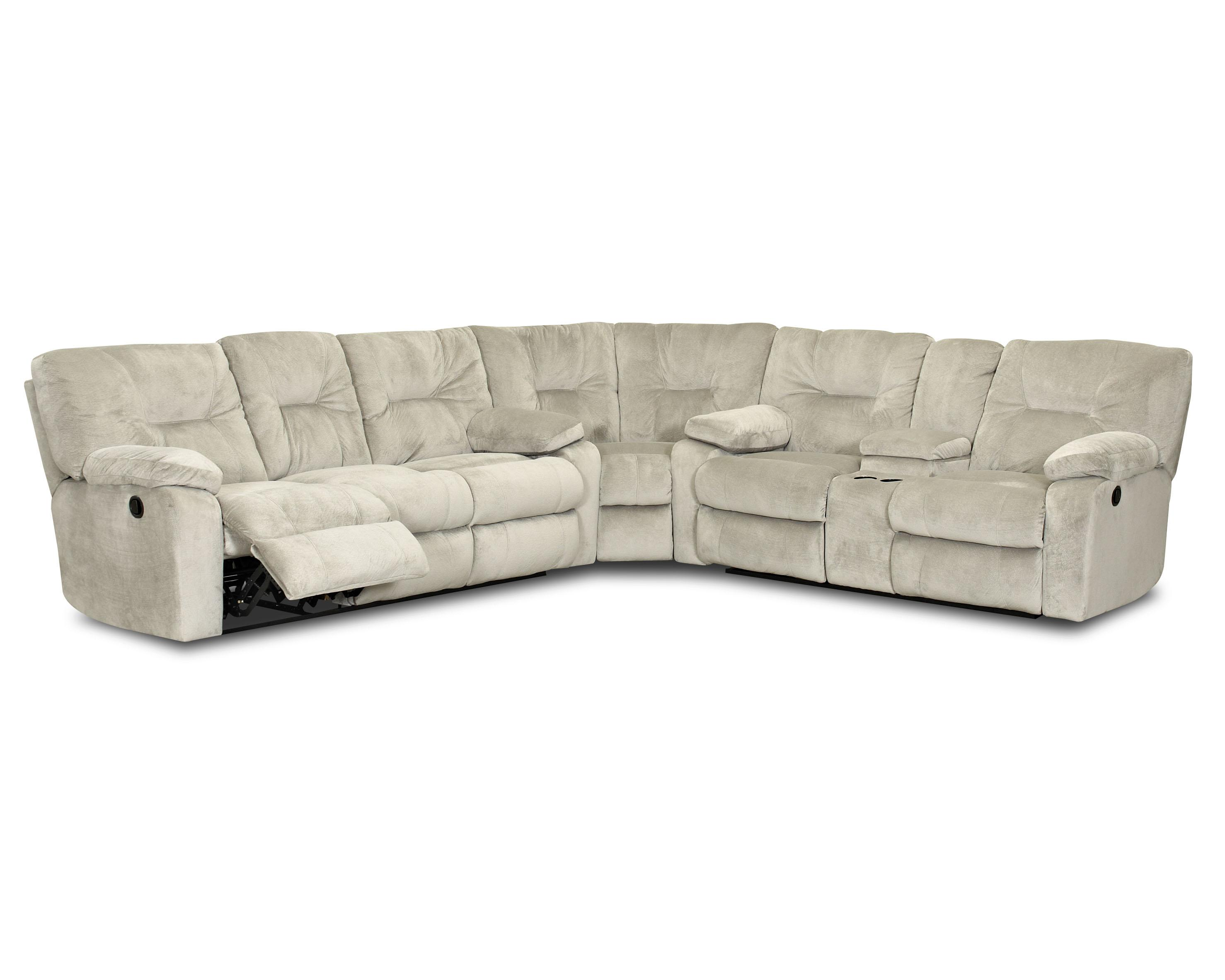 Casual Reclining Sectional with Pillow Top Arms and Storage Console