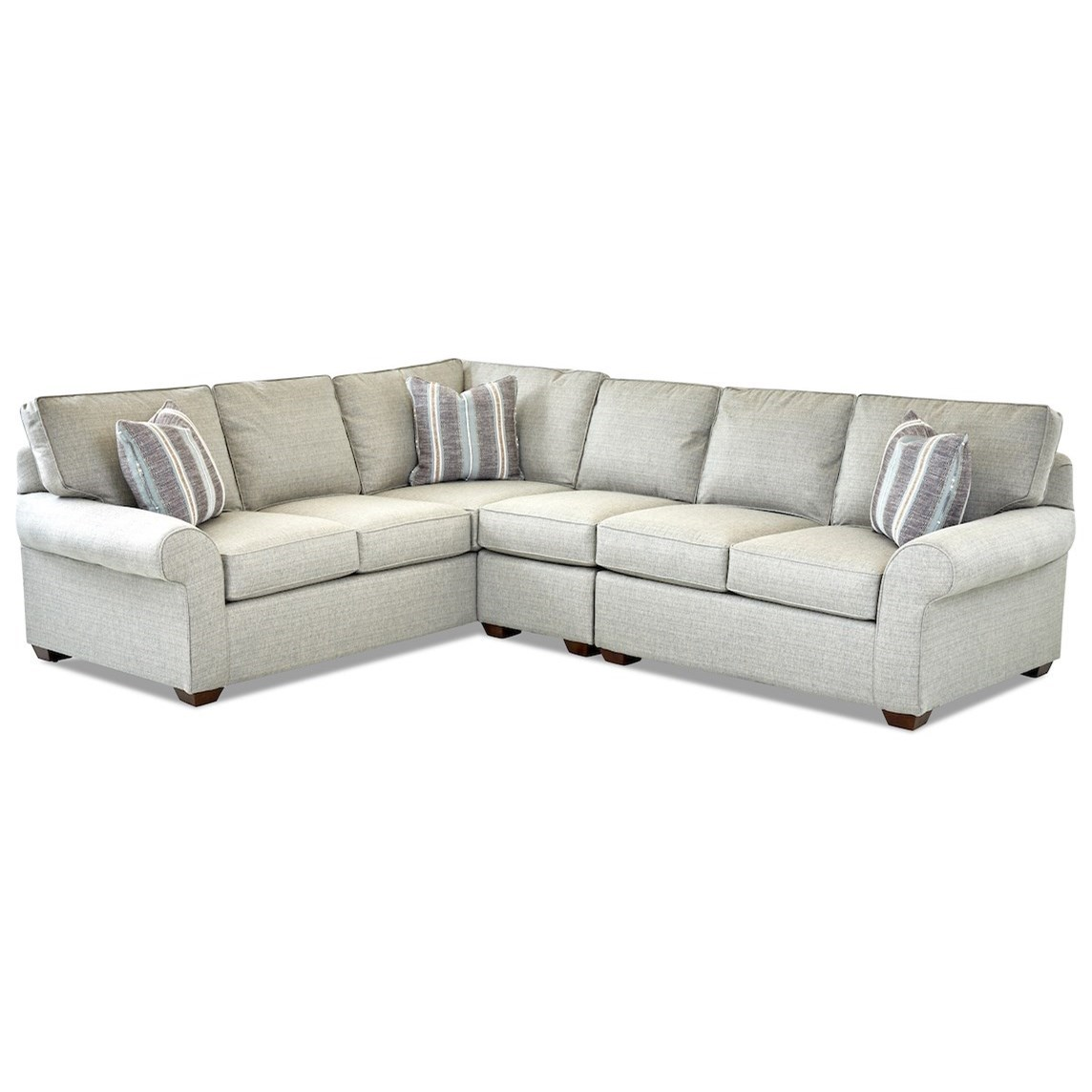 Casual 3 Piece Sectional Sofa with RAF Loveseat