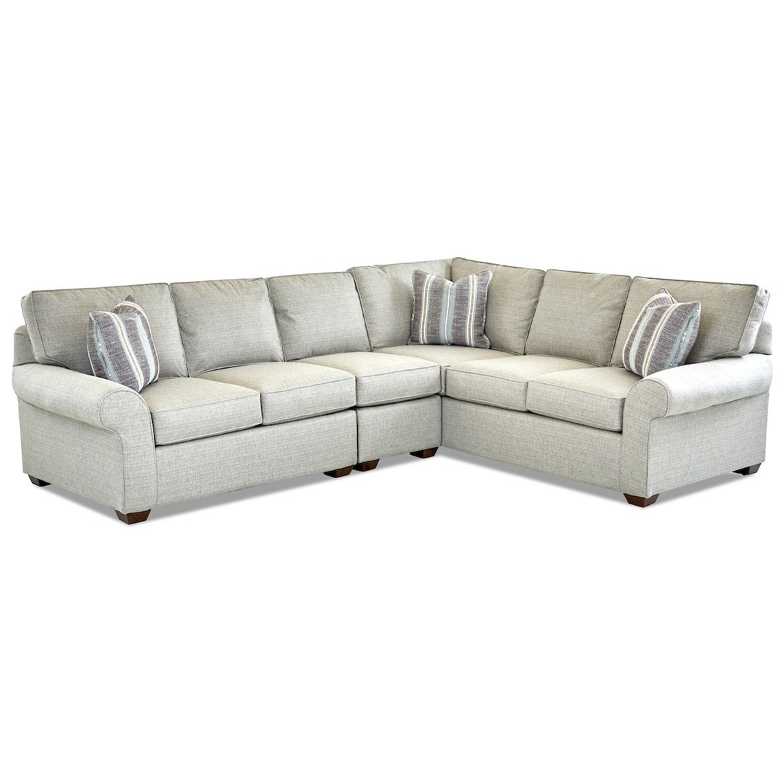Casual 3 Piece Sectional Sofa with LAF Loveseat