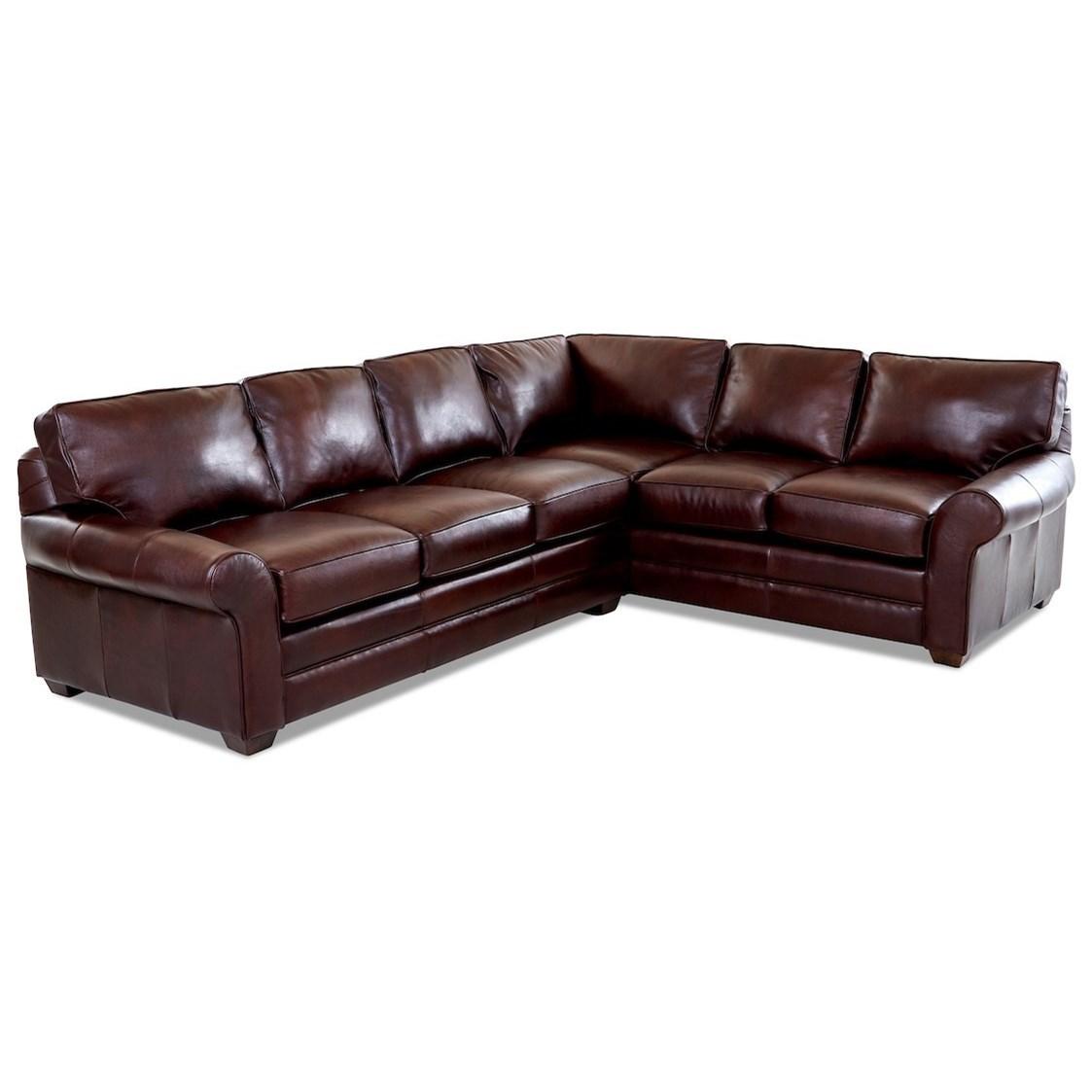 Casual 2 Pc Leather Sectional Sofa w/ LAF Sofa