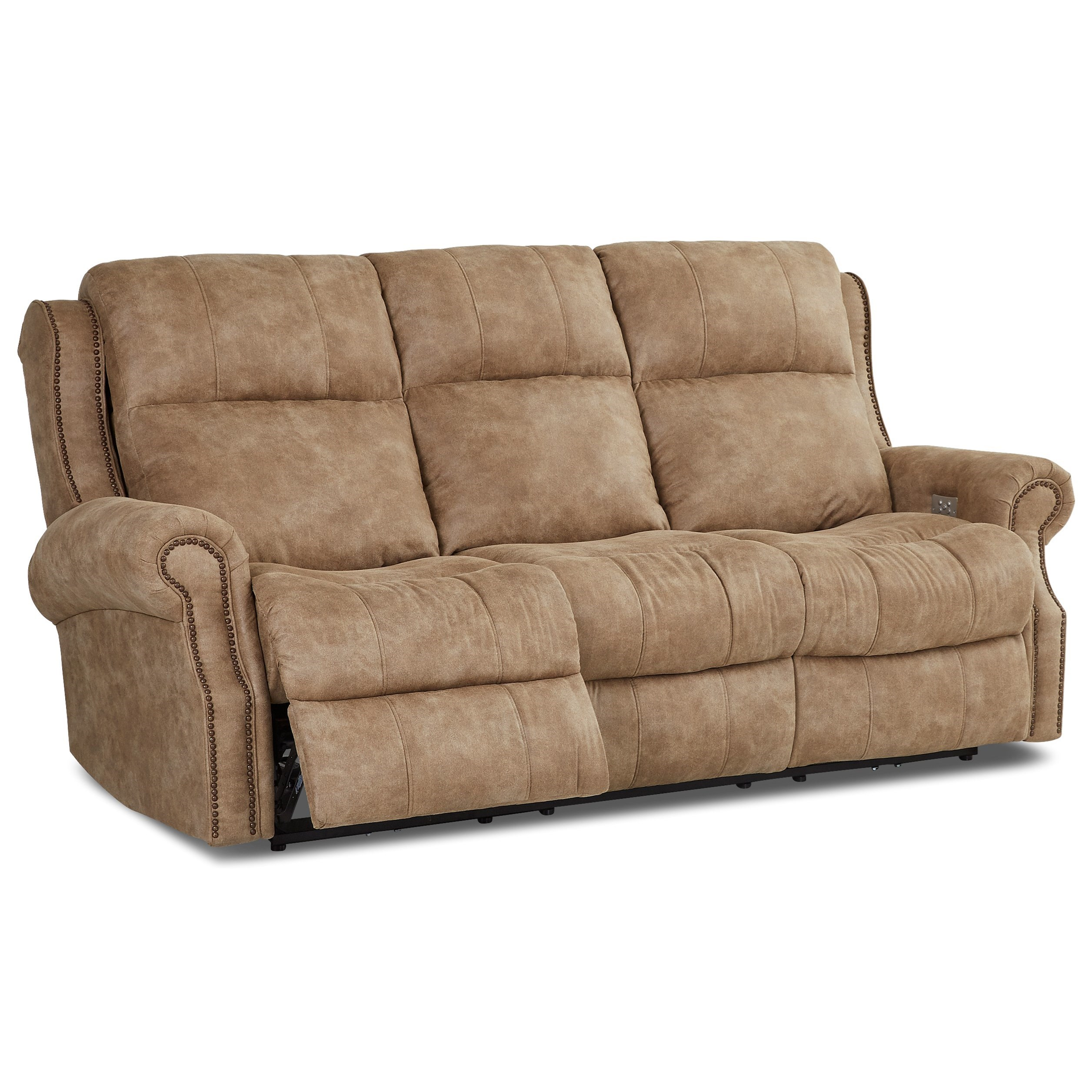Traditional Power Reclining Sofa with Nailheads and Power Tilt