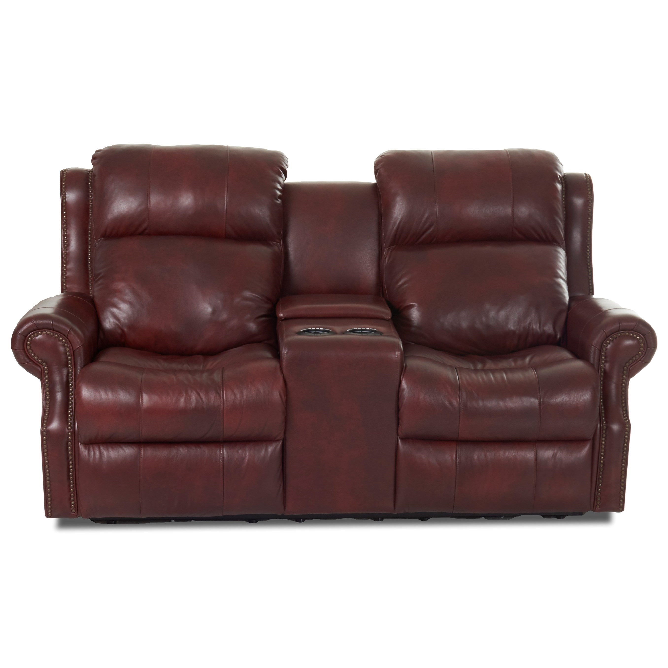 Traditional Power Reclining Console Loveseat with Power Headrests and USB Ports