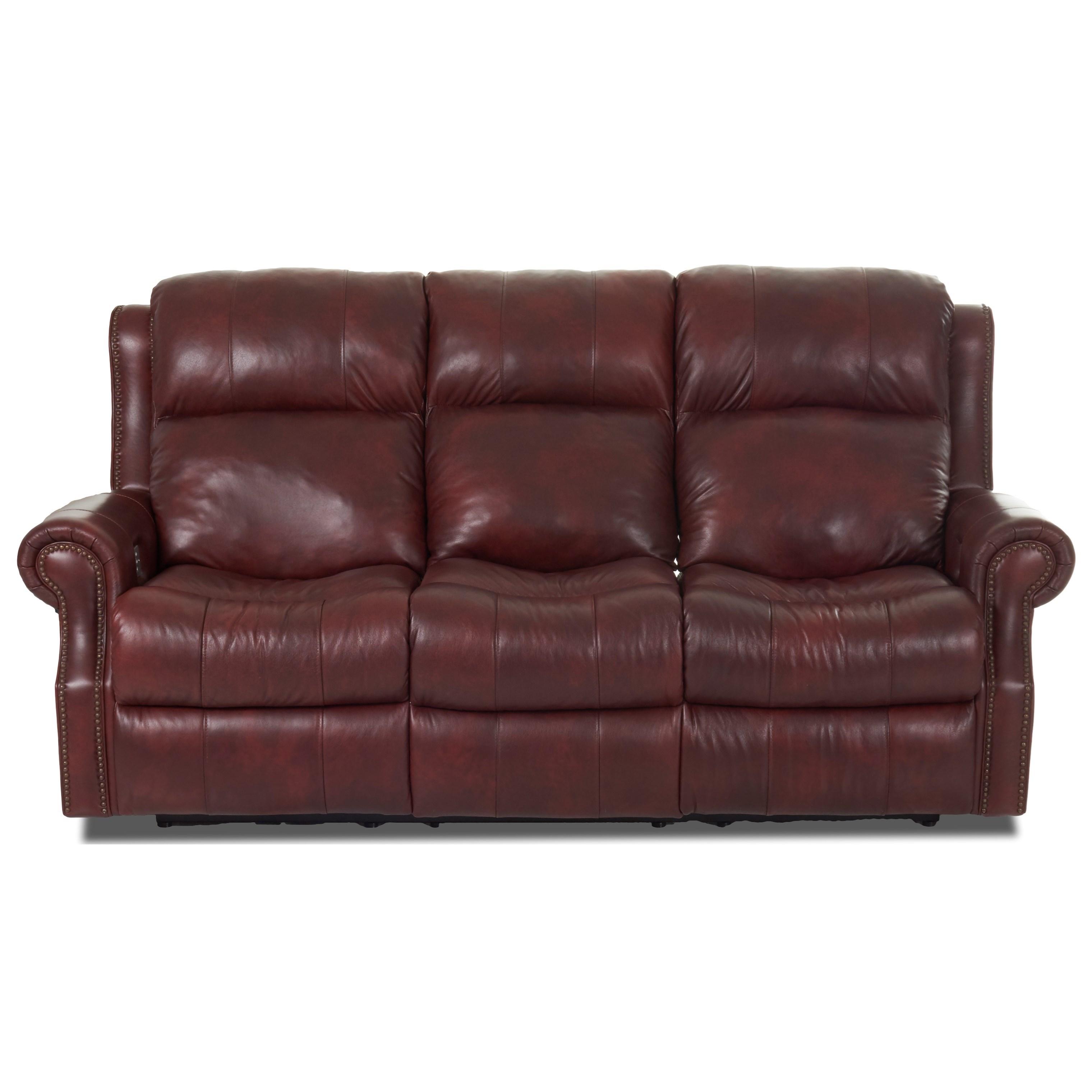 Traditional Reclining Sofa with Nailhead Border