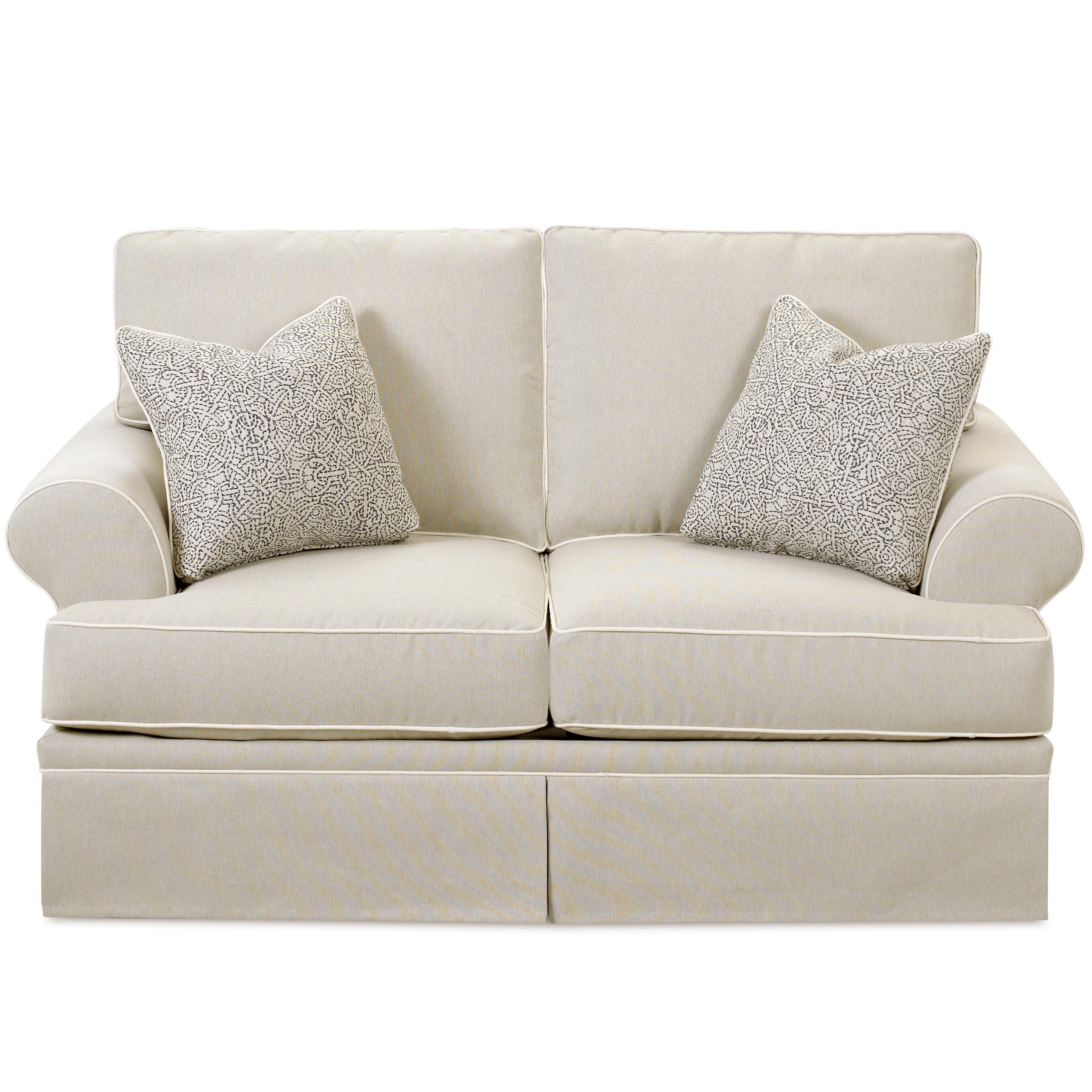 Casual Love Seat with Rolled Arms