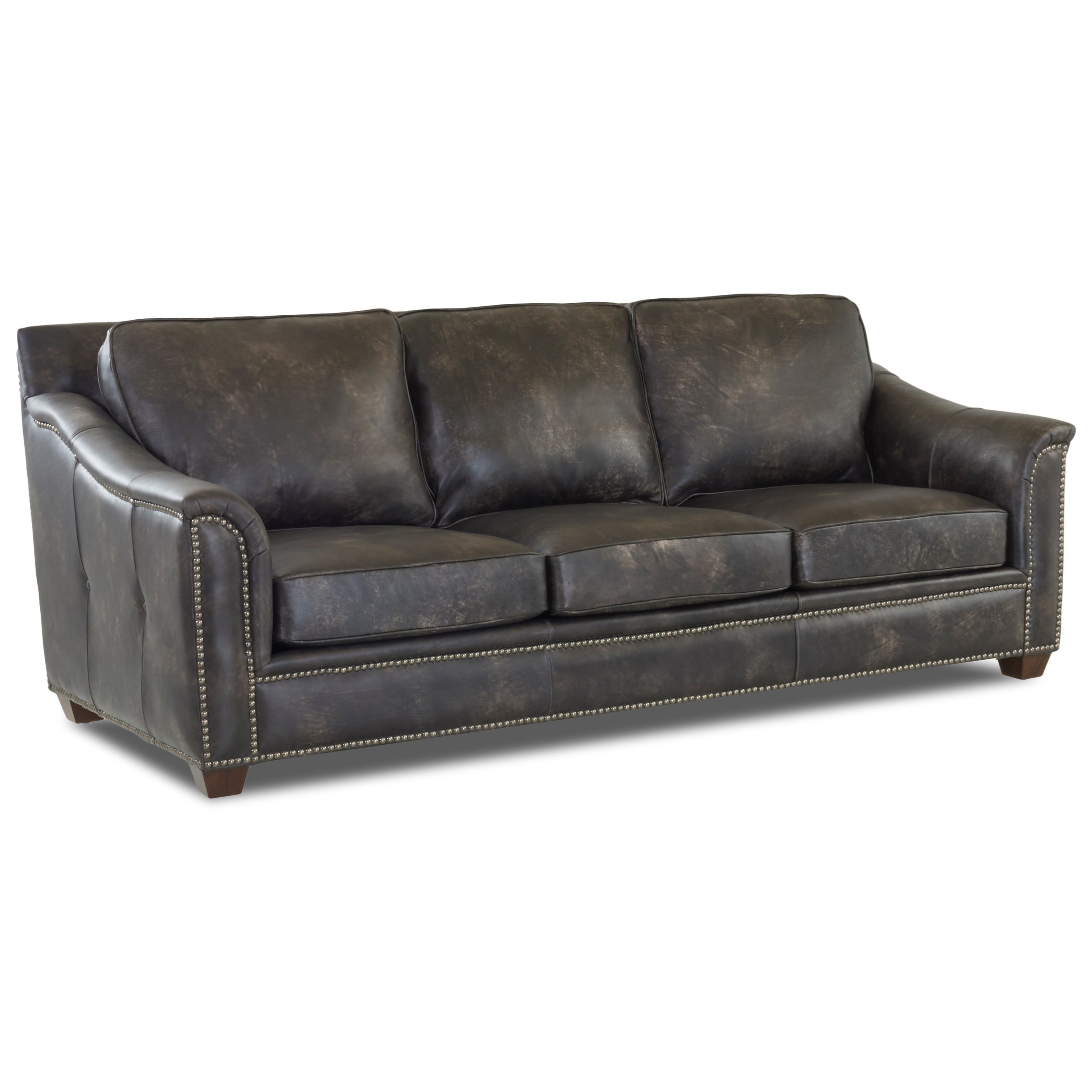 Leather Sofa with Nailhead Studs and Outside Tufting